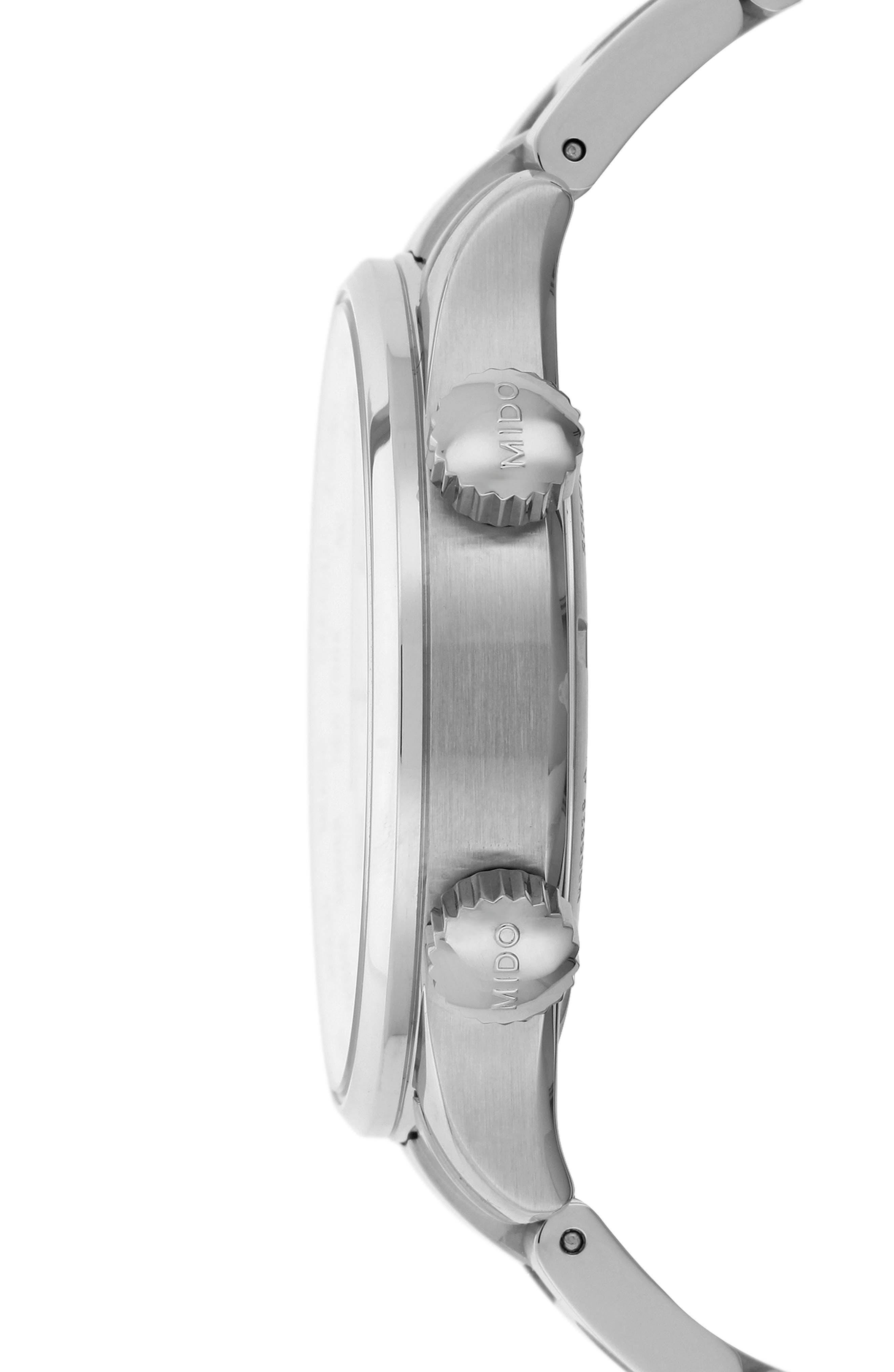 Multifort Automatic Bracelet Watch,                             Alternate thumbnail 3, color,                             SILVER