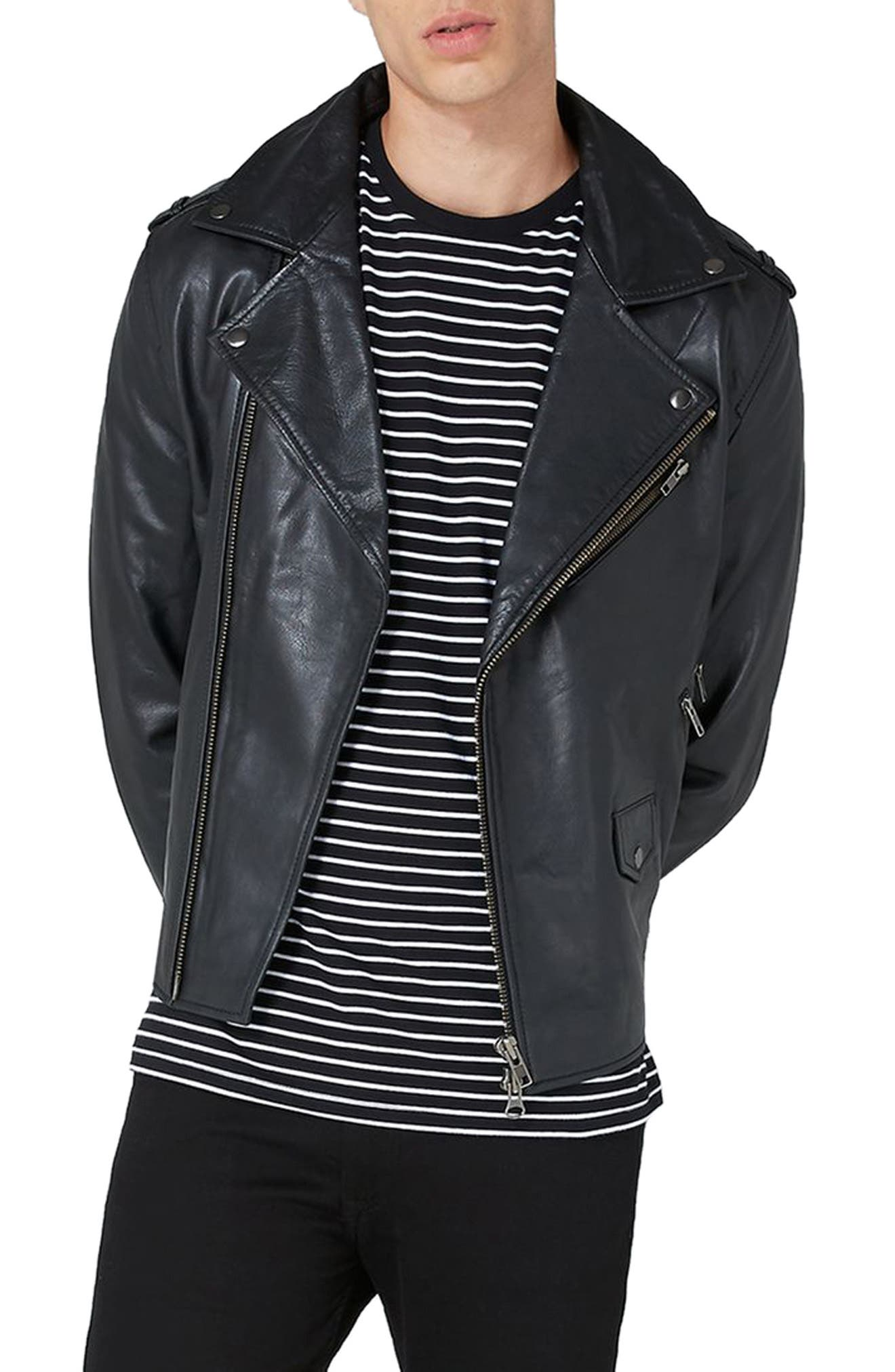 Leather Biker Jacket,                         Main,                         color, 001