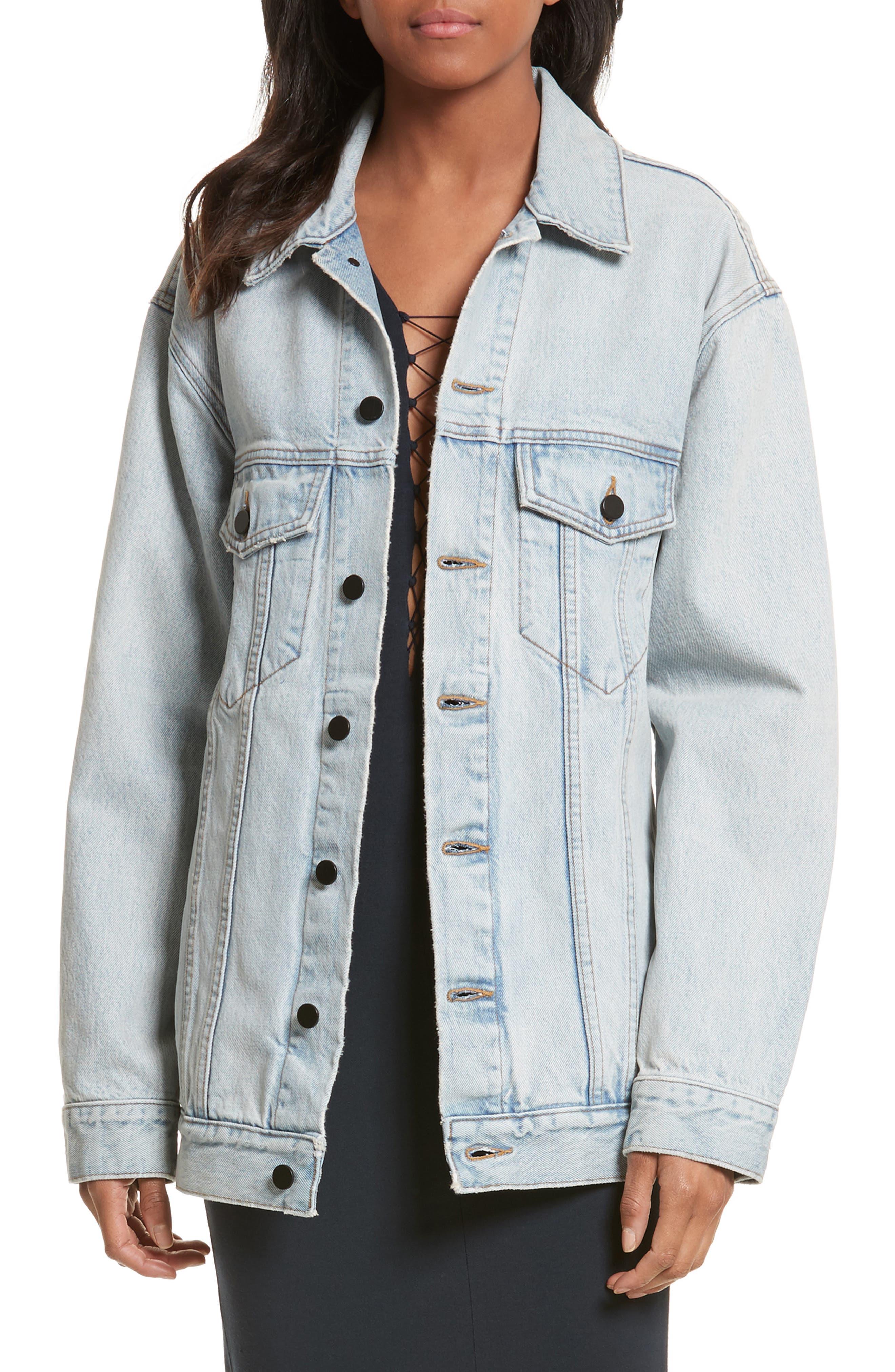 Denim x Alexander Wang Daze Bleach Oversize Denim Jacket,                             Main thumbnail 1, color,