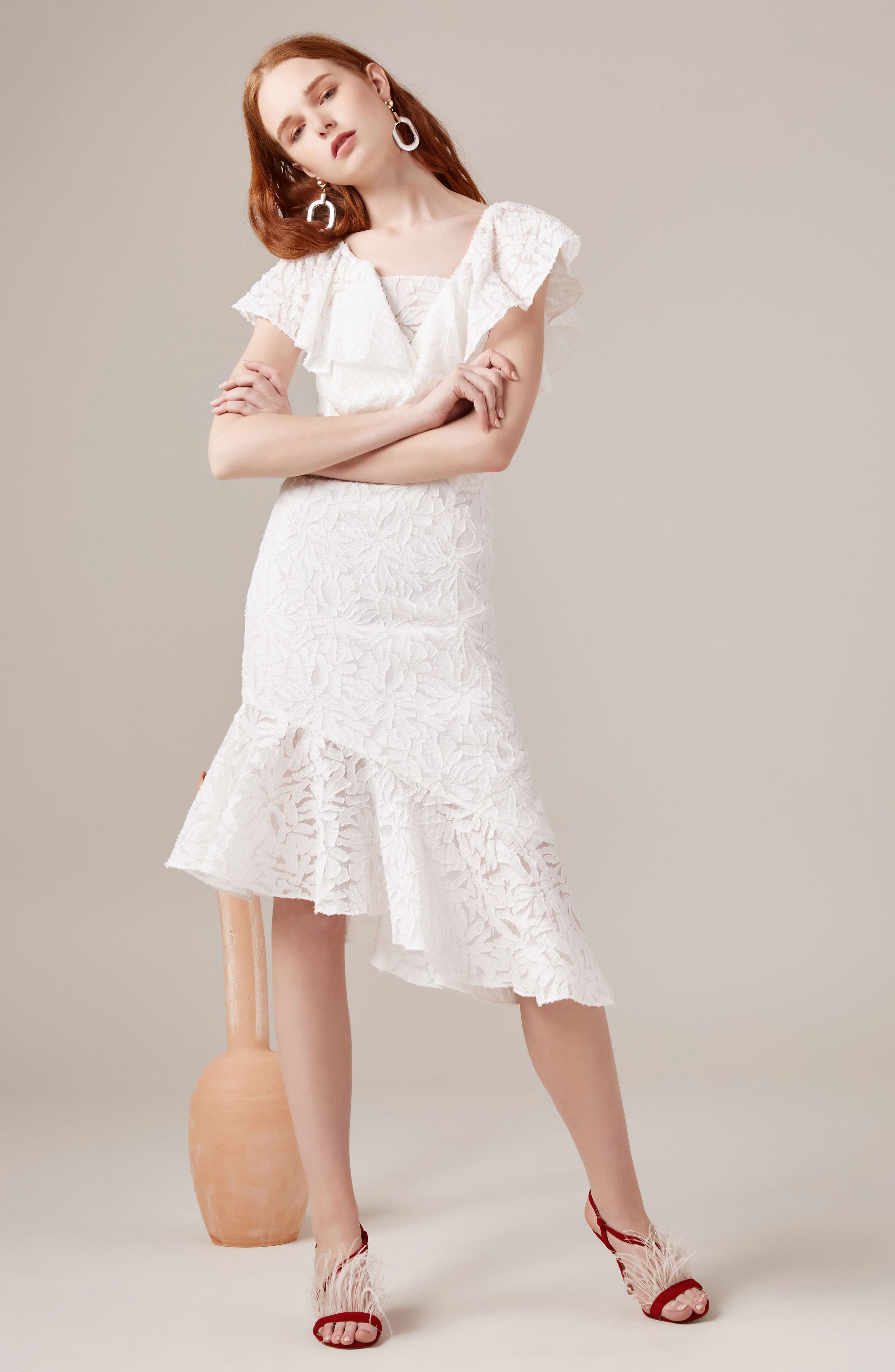C/MEO More to Give Off the Shoulder Midi Dress,                             Alternate thumbnail 7, color,                             900