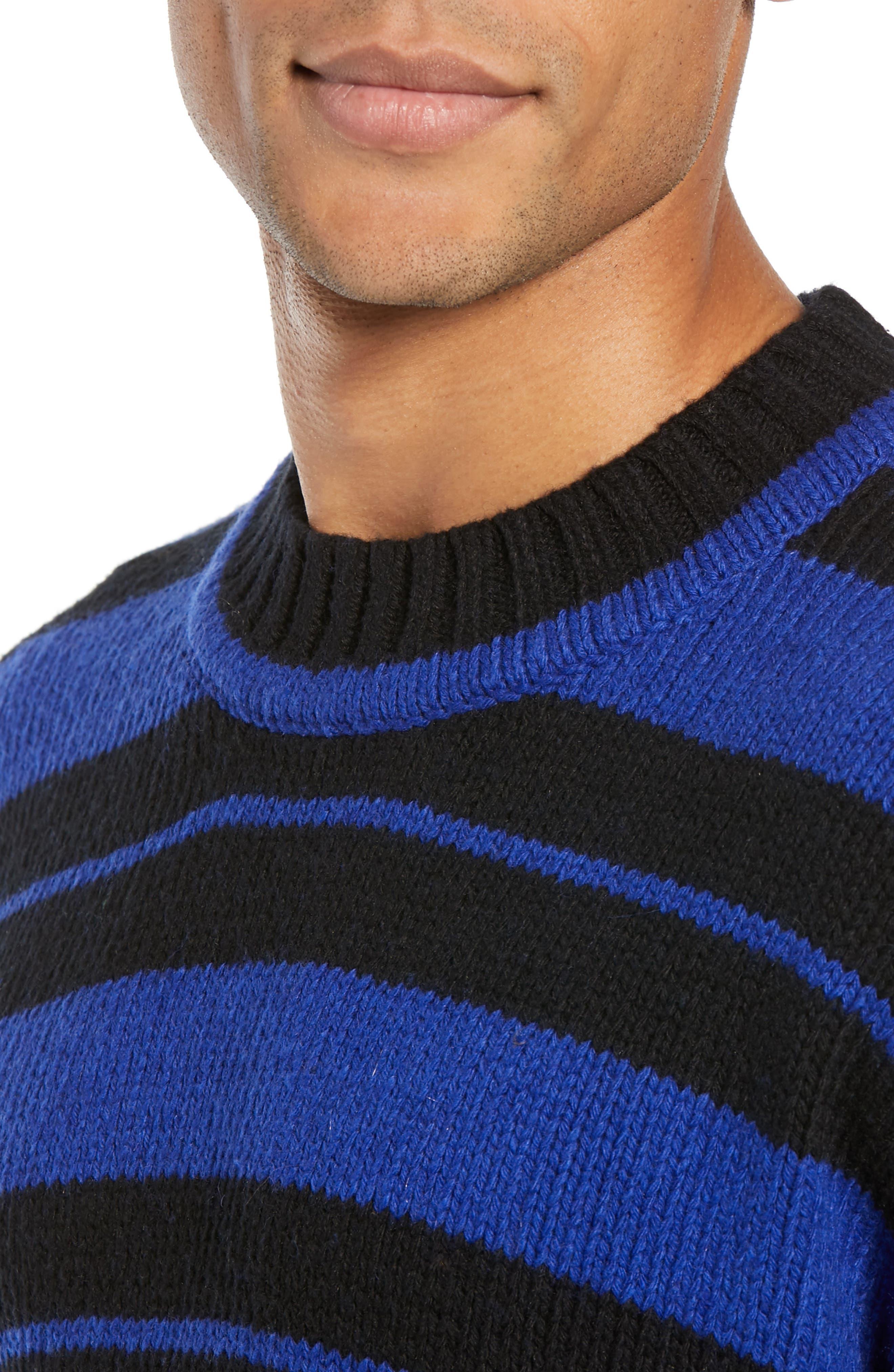 Regular Fit Varsity Stripe Sweater,                             Alternate thumbnail 4, color,                             FLURO BLUE BLACK