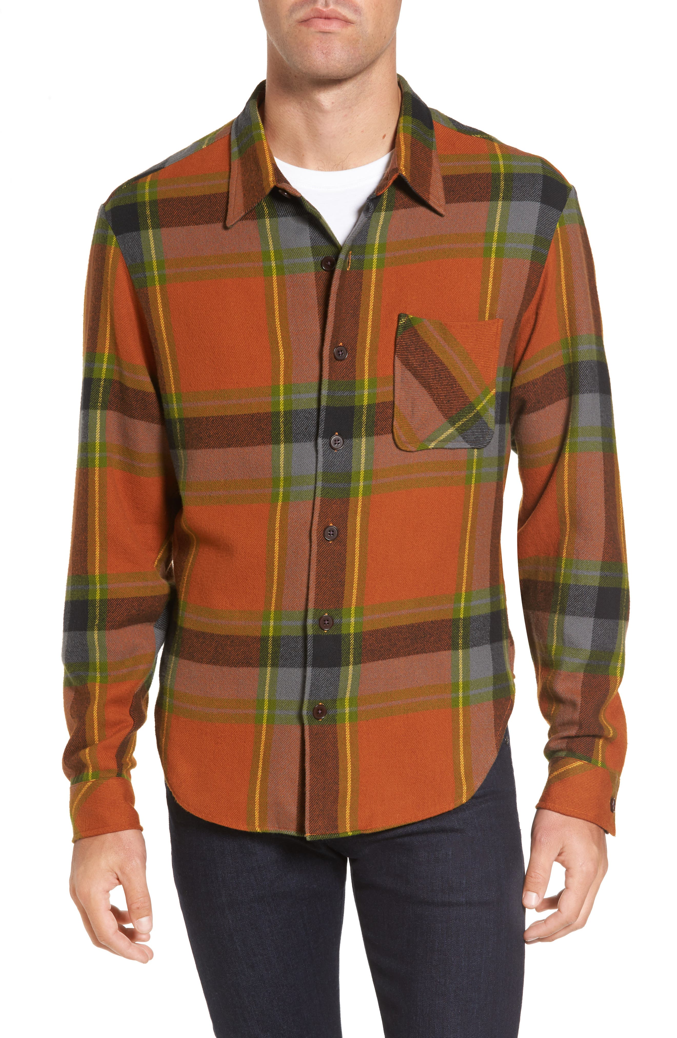 Denim Regular Fit Check Sport Shirt,                             Main thumbnail 1, color,                             840