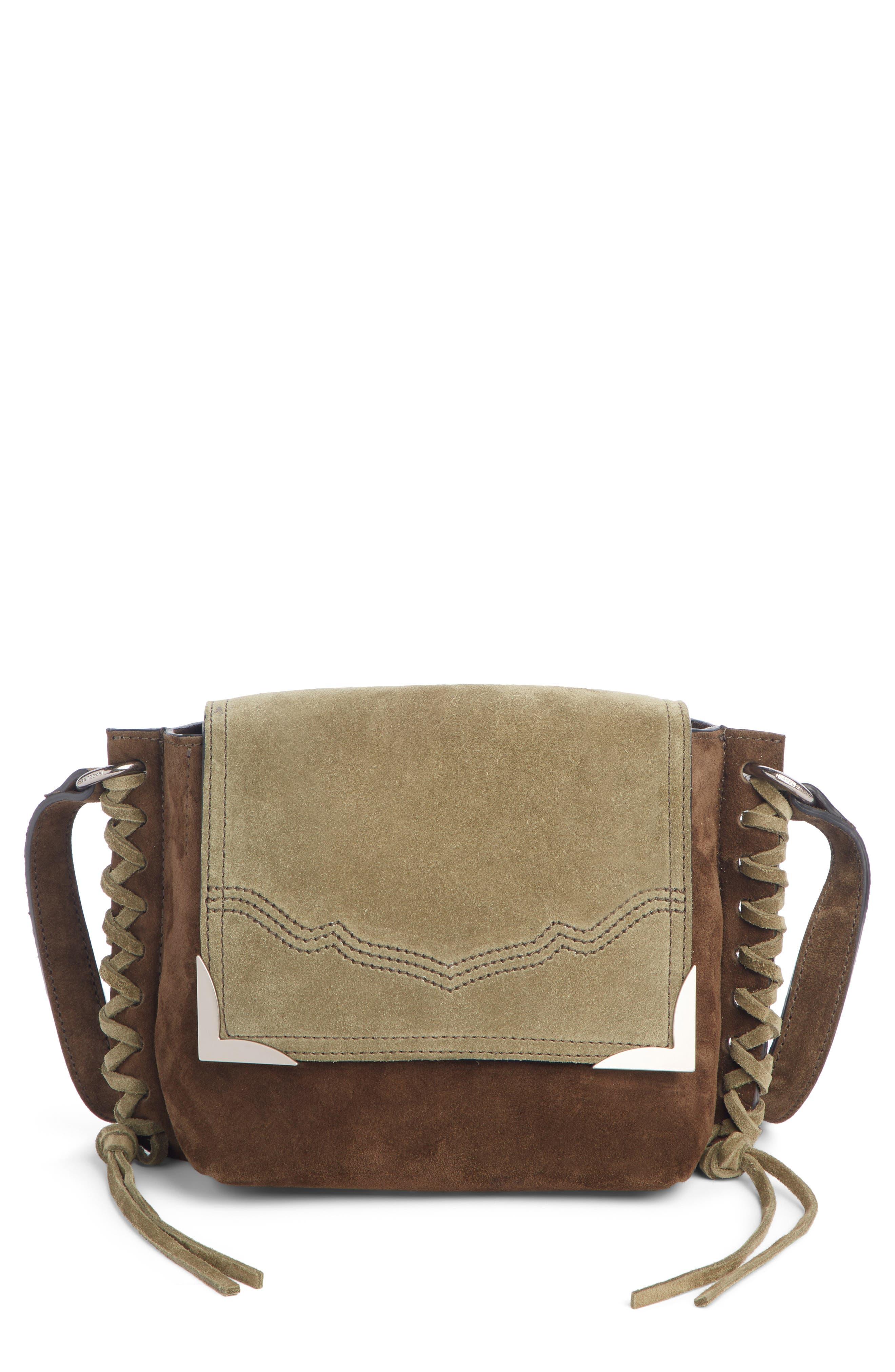 ISABEL MARANT Kleny Colorblock Suede Shoulder Bag, Main, color, KHAKI