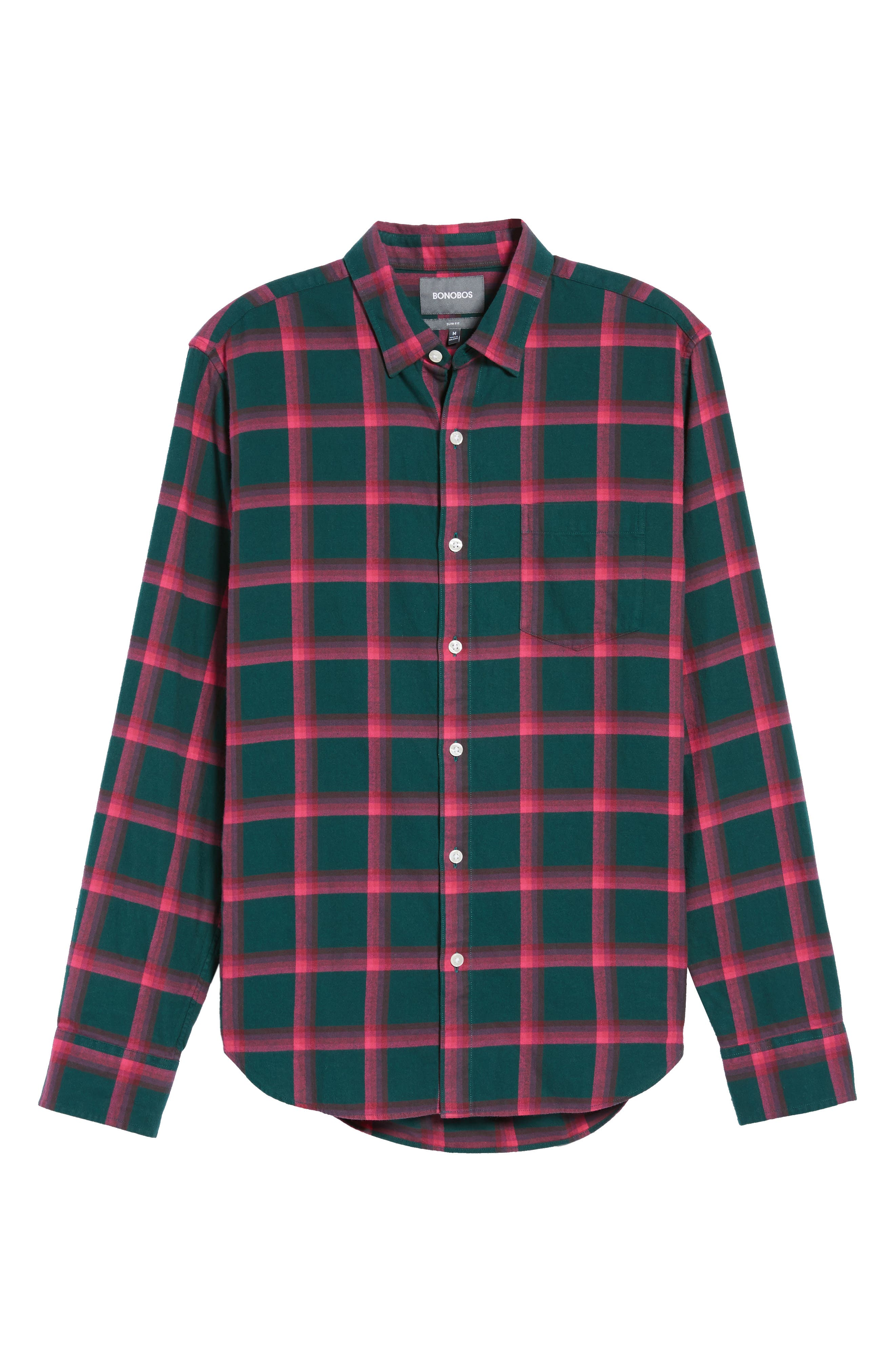 Slim Fit Brushed Windowpane Sport Shirt,                             Alternate thumbnail 6, color,