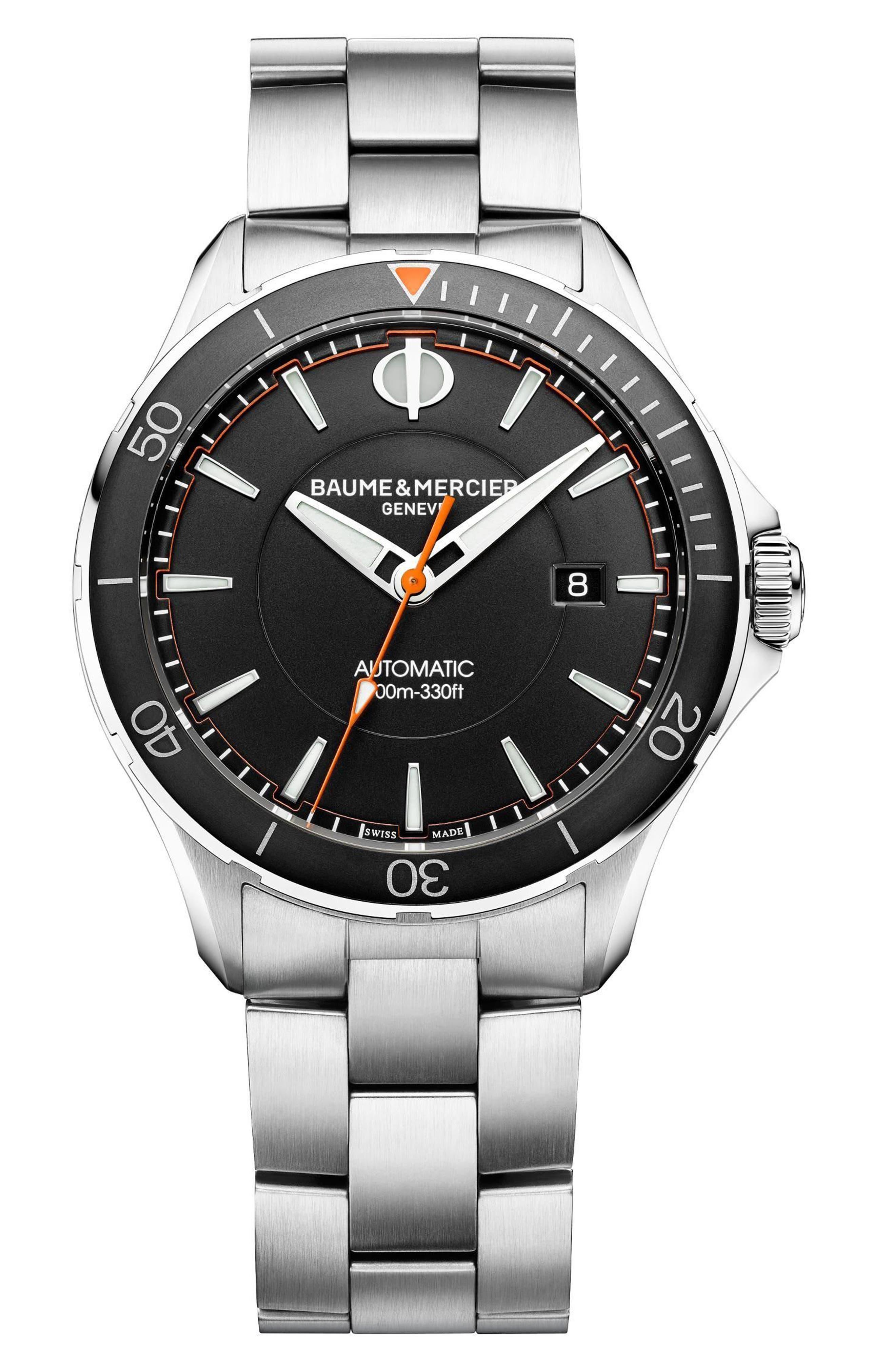 Clifton Automatic Bracelet Watch, 42mm,                             Main thumbnail 1, color,                             BLACK/ SILVER