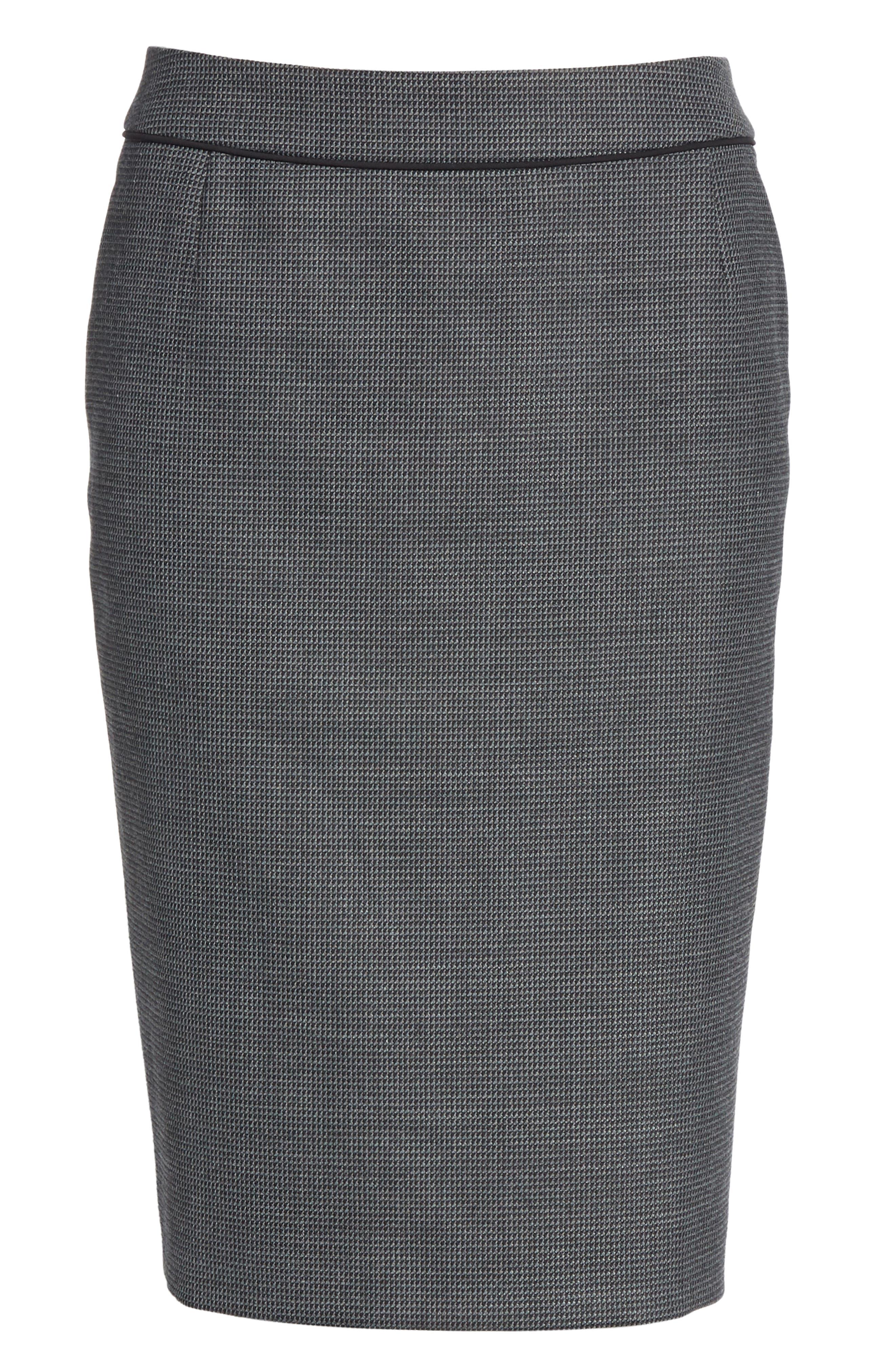 Vorita Geometric Wool Blend Suit Skirt,                             Alternate thumbnail 6, color,                             GREY FANTASY