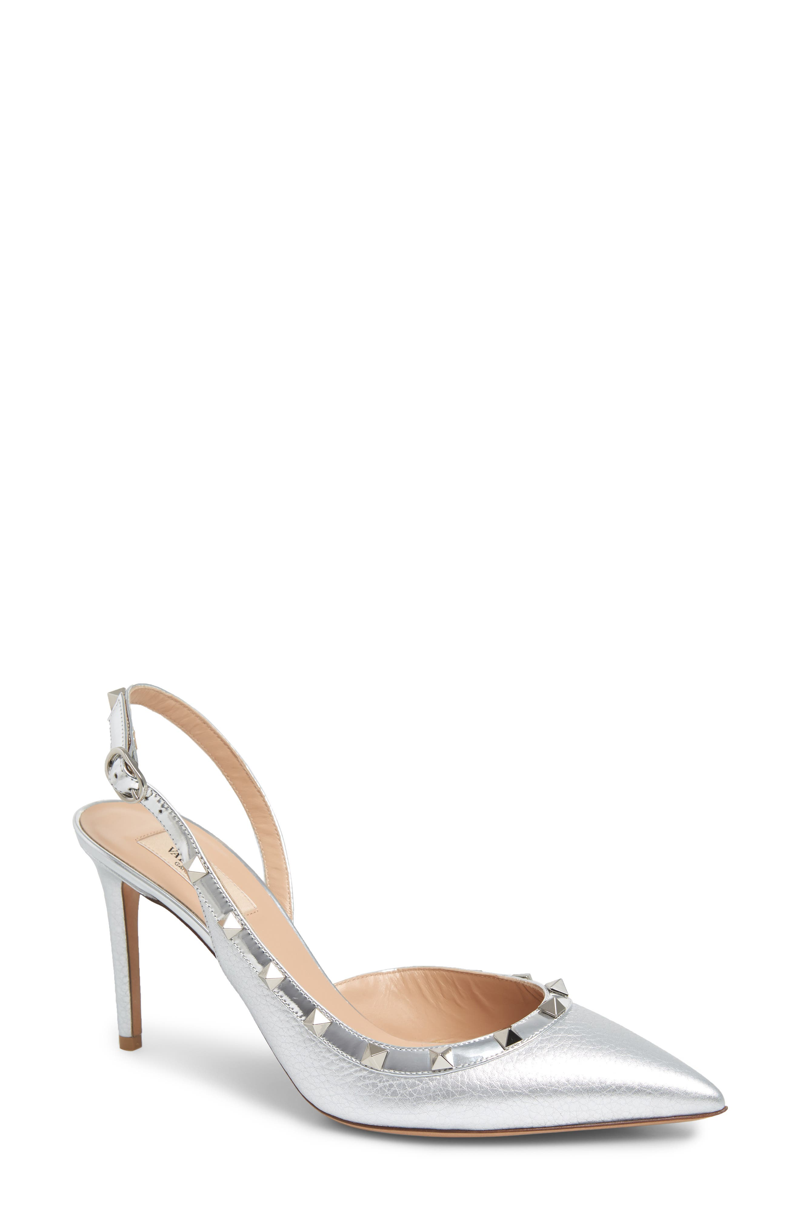 Rockstud Slingback Pump,                         Main,                         color, SILVER
