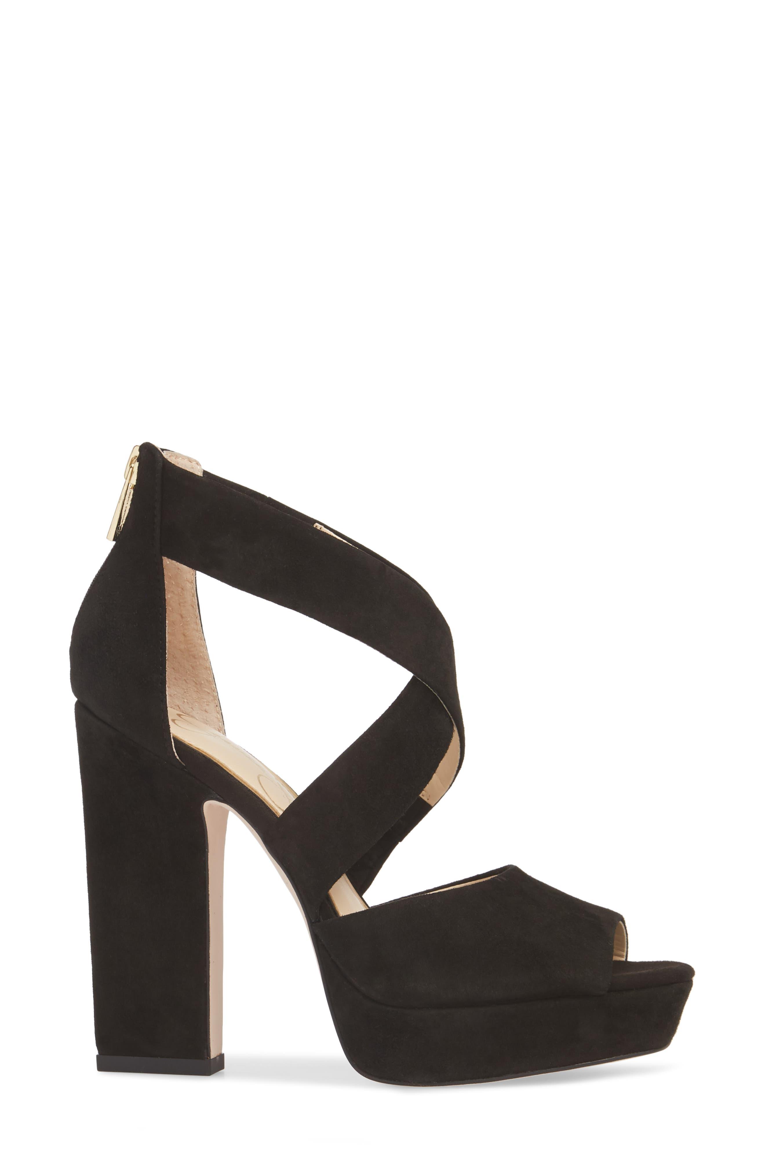 Tehya Cross Strap Platform Sandal,                             Alternate thumbnail 3, color,                             001