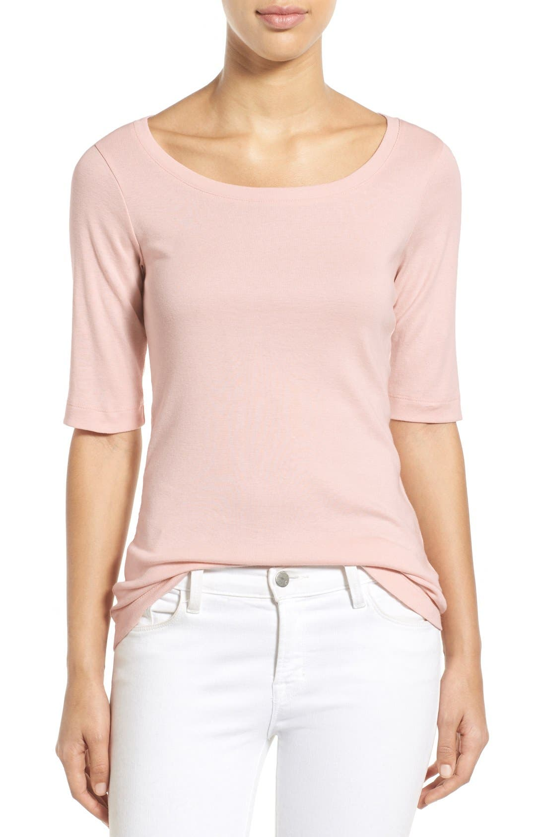 Ballet Neck Cotton & Modal Knit Elbow Sleeve Tee,                             Main thumbnail 50, color,