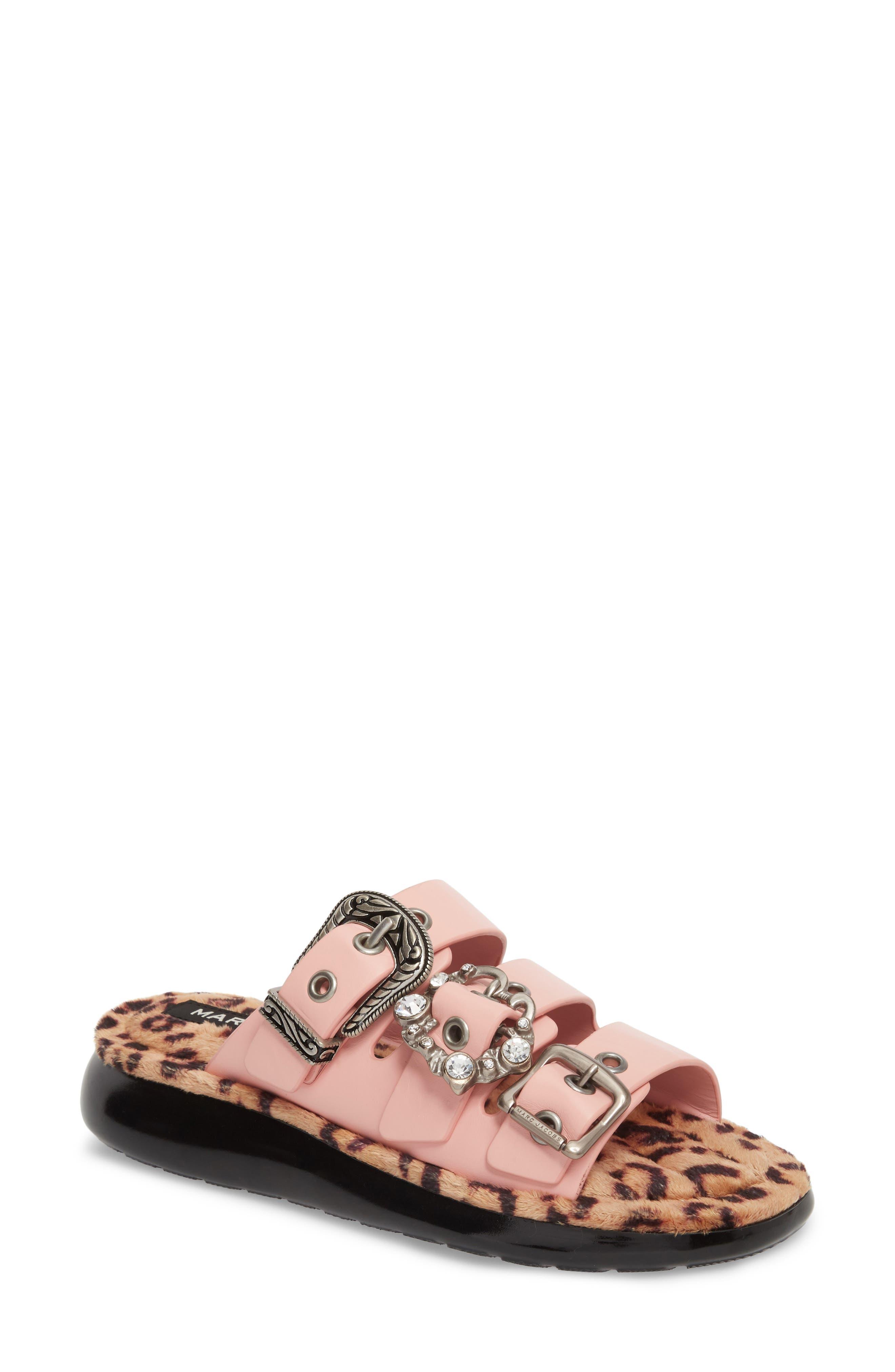 Emerson Faux Fur Sport Sandal,                         Main,                         color, LIGHT PINK MULTI