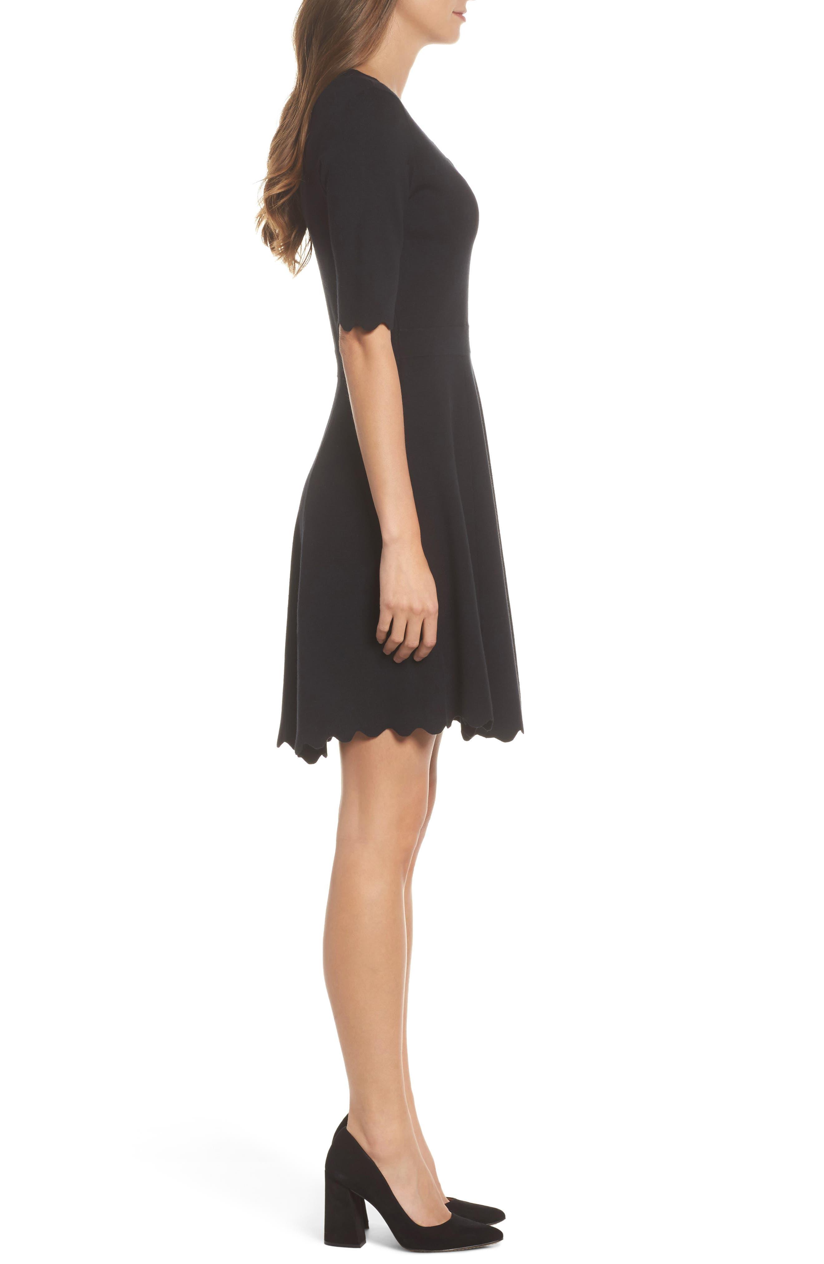 Scallop Trim Fit & Flare Dress,                             Alternate thumbnail 3, color,                             BLACK