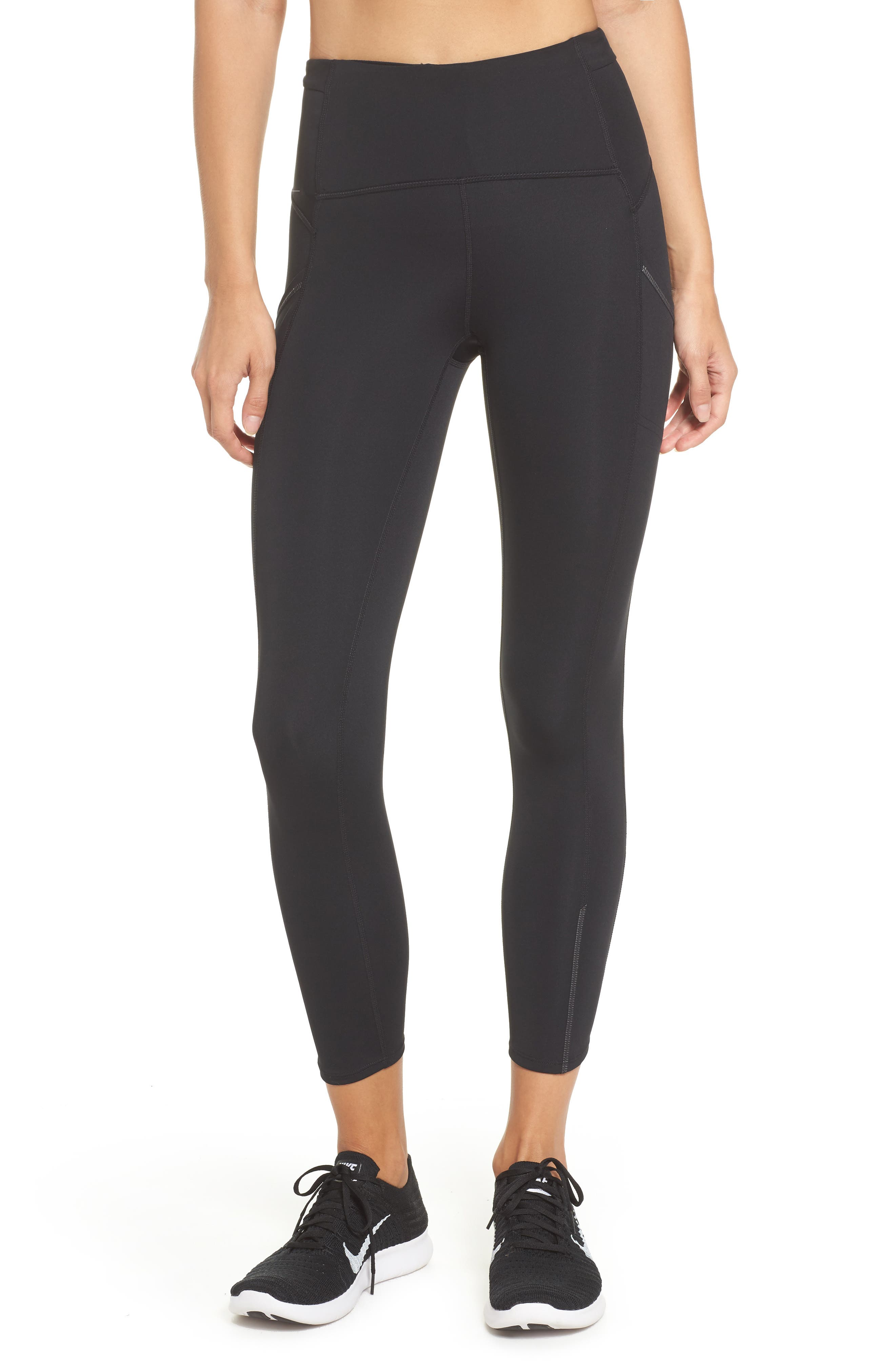 Sprint In High Waist Midi Leggings,                             Main thumbnail 1, color,                             001
