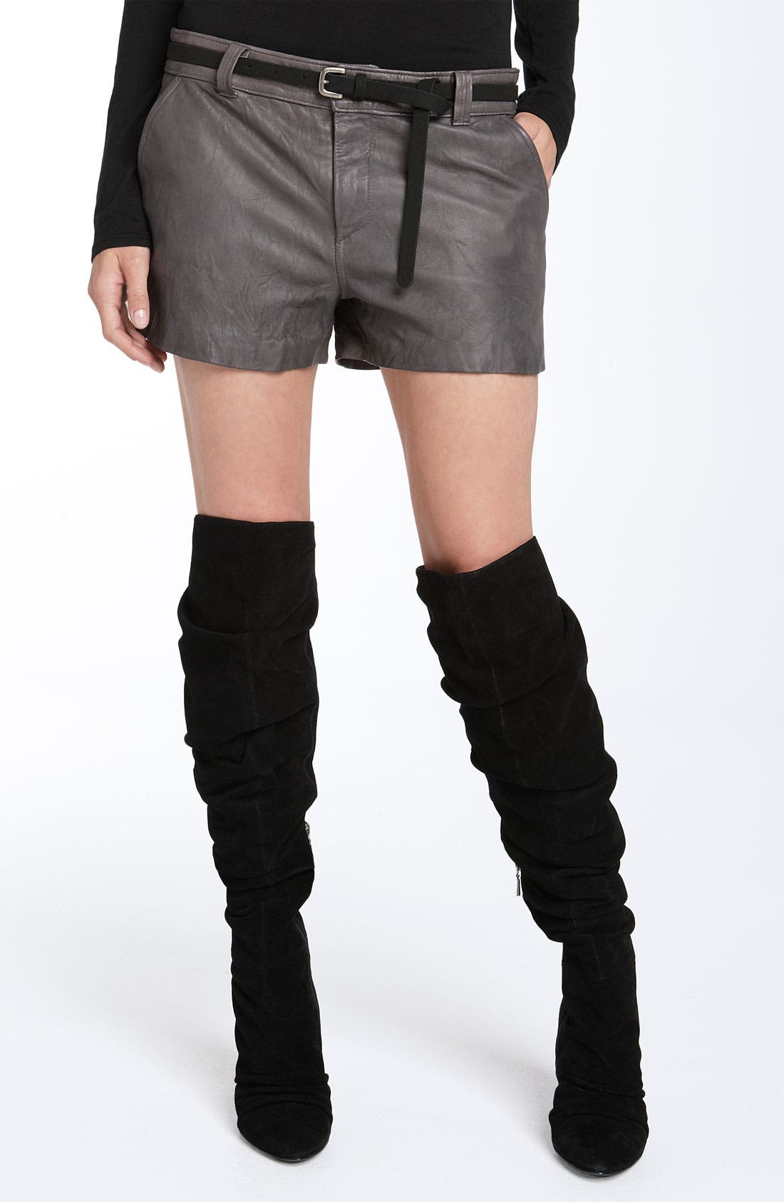'Denver' Leather Shorts,                         Main,                         color, 020