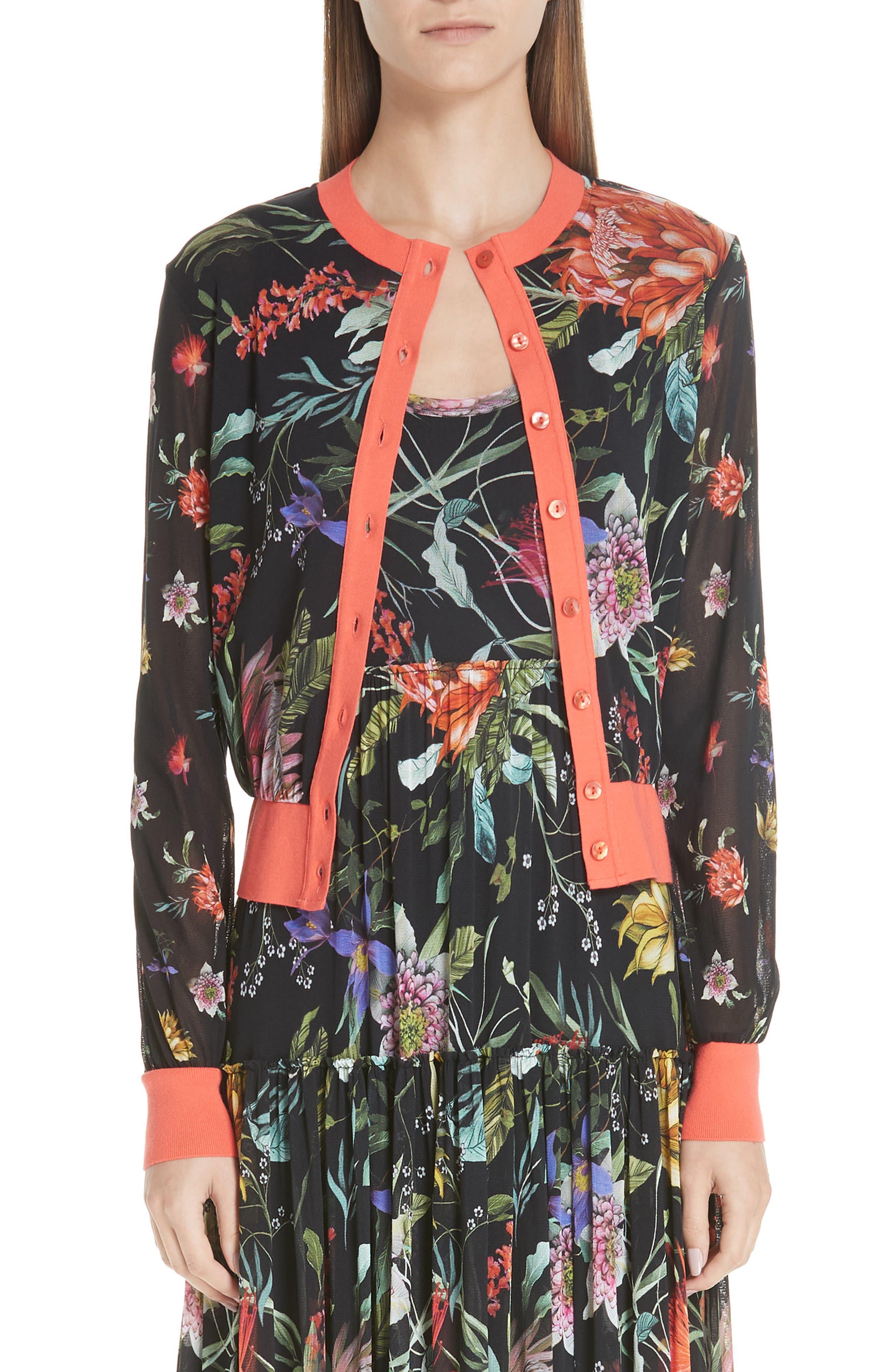 Fuzzi Floral Tulle Cardigan, Black