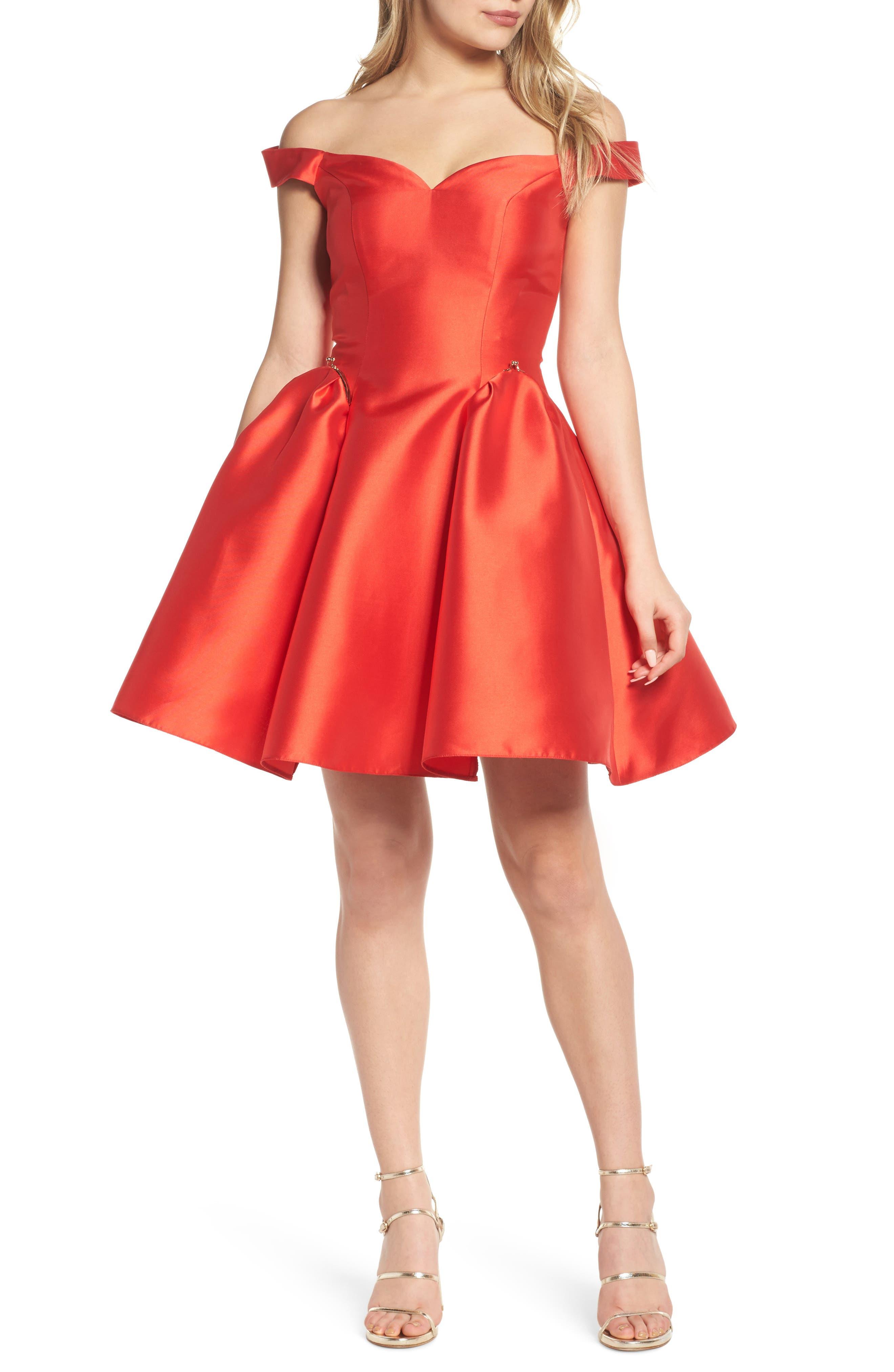 Off the Shoulder Fit & Flare Dress,                             Alternate thumbnail 5, color,                             600