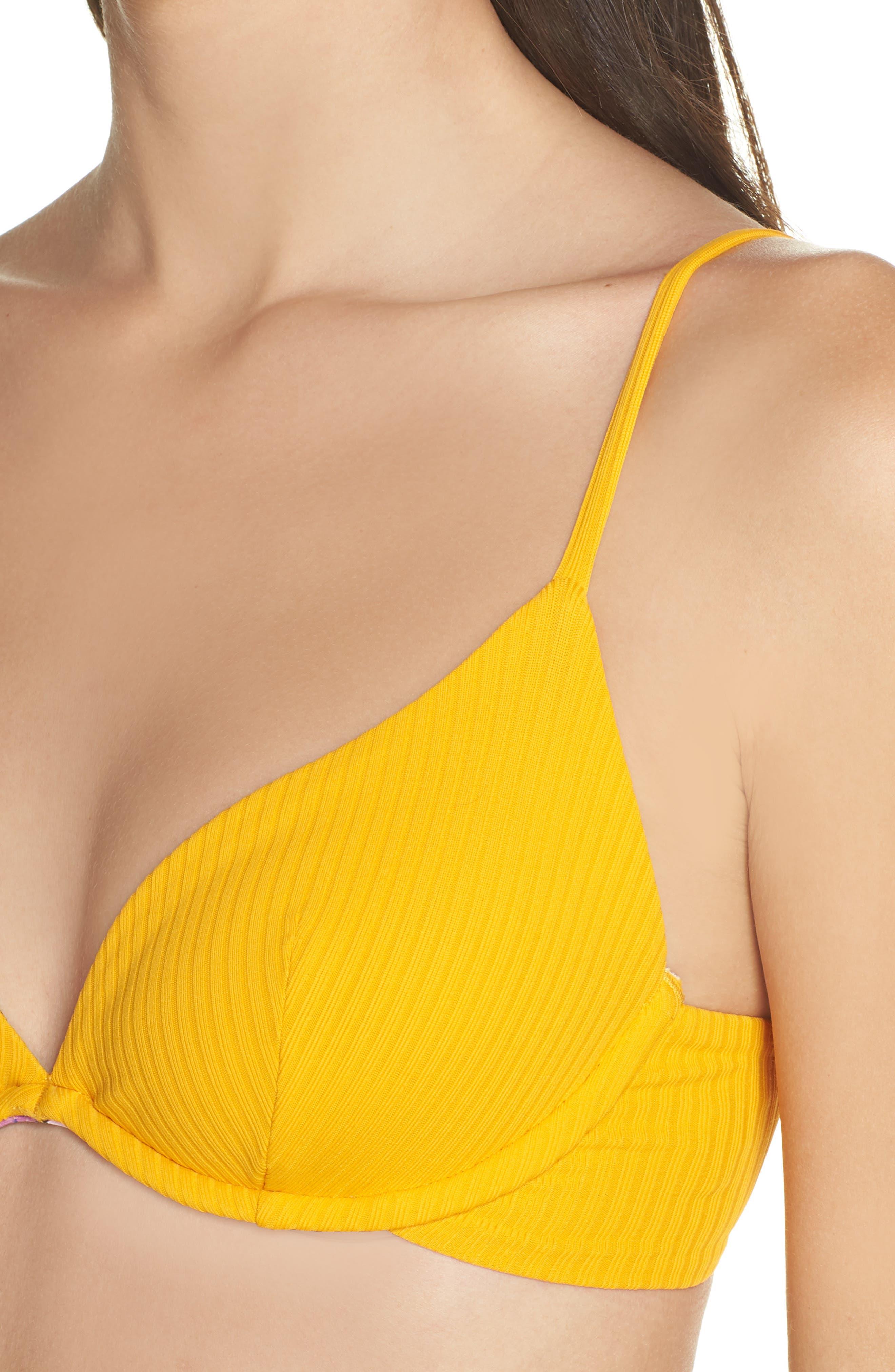 Farrahs Lovely Ribbed Reversible Bikini Top,                             Alternate thumbnail 4, color,                             FARRAHS YELLOW RIB
