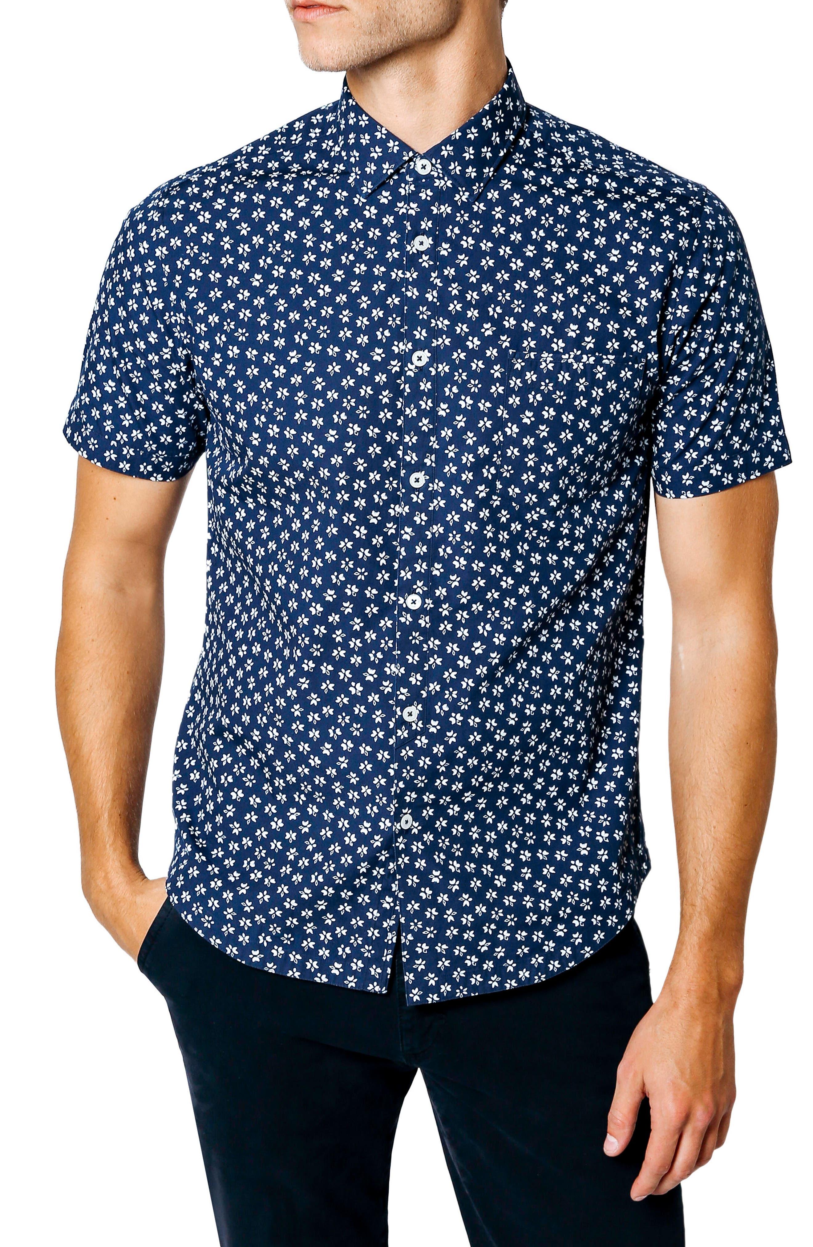 Slim Fit Print Sport Shirt,                             Alternate thumbnail 7, color,                             INDIGO