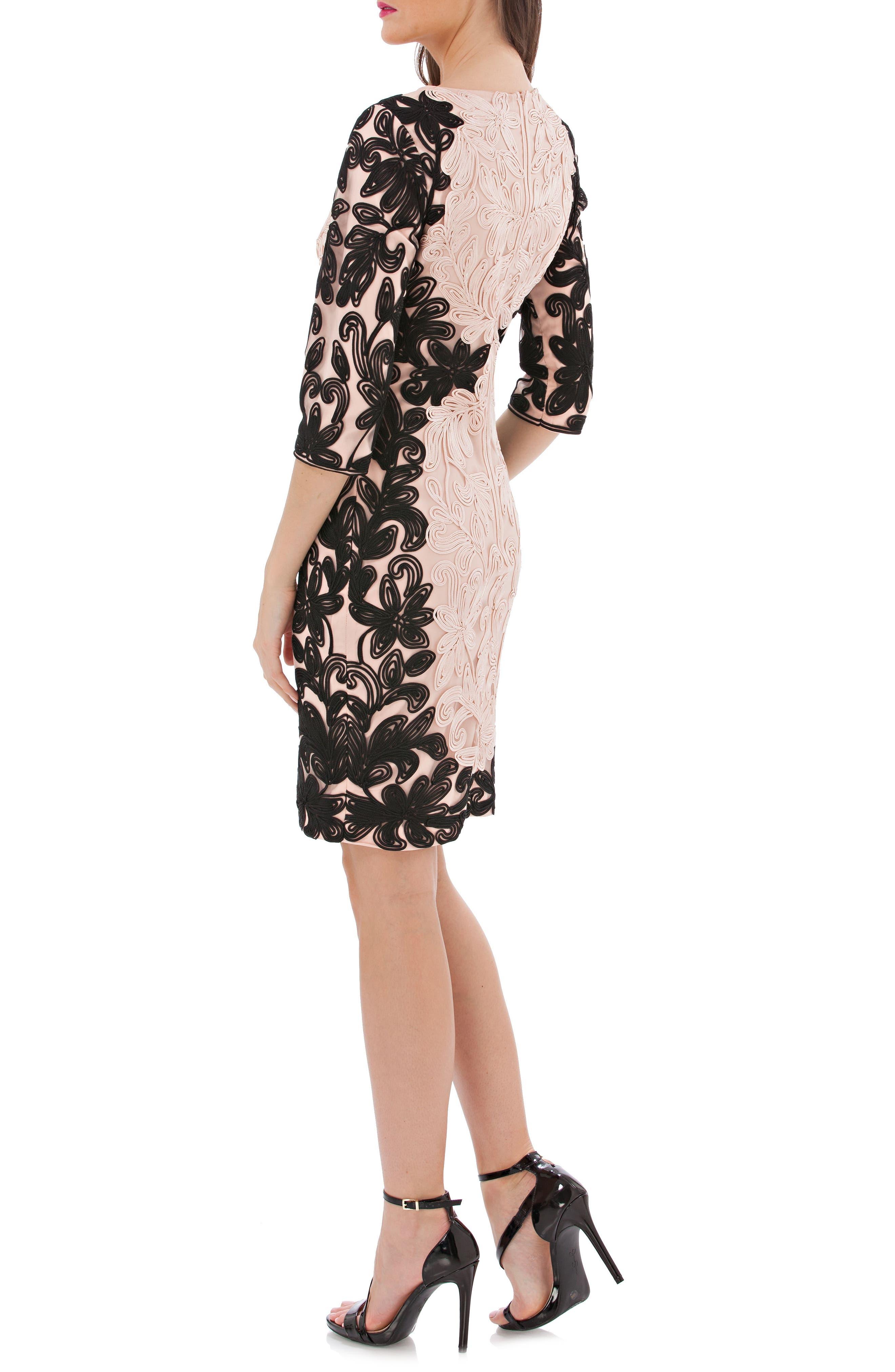 Two-Tone Soutache Sheath Dress,                             Alternate thumbnail 2, color,                             686