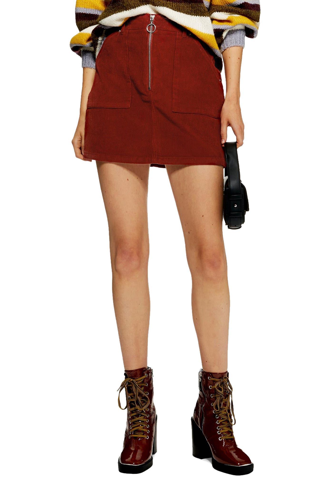 Front Zip Corduroy Miniskirt,                             Main thumbnail 1, color,                             RUST