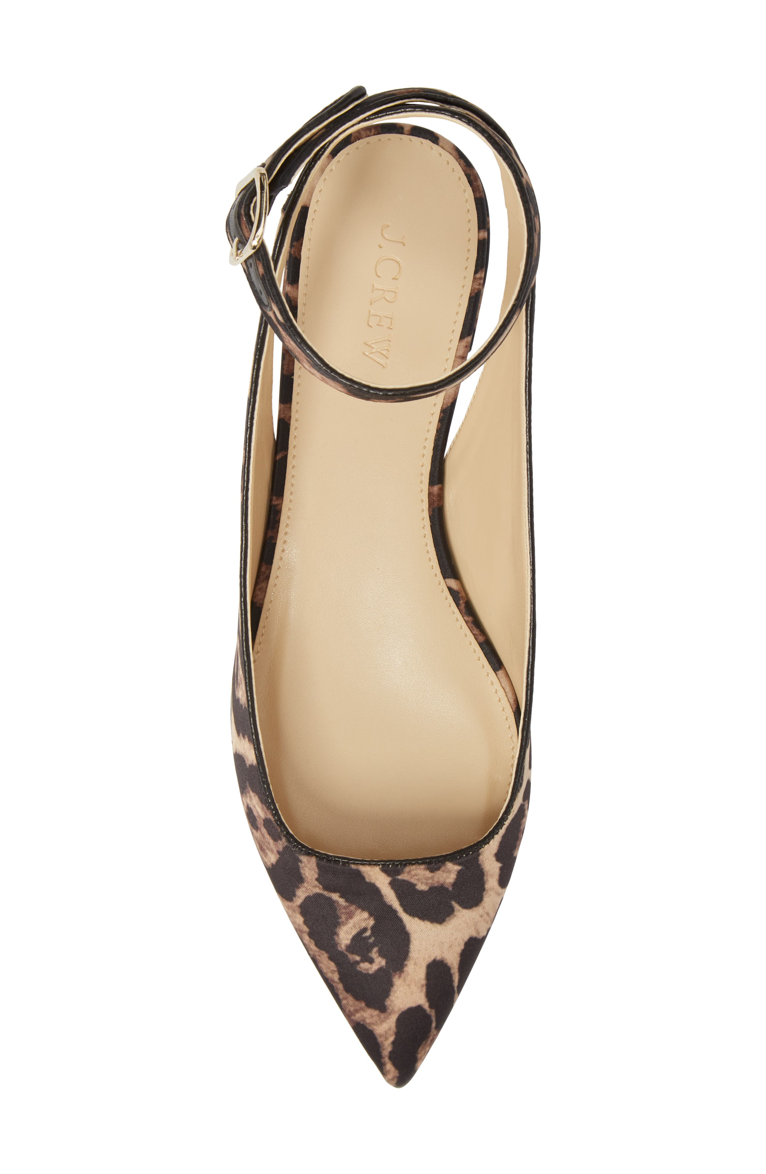 J. Crew Harlech Tabby Print Ankle Strap Flat,                             Alternate thumbnail 5, color,