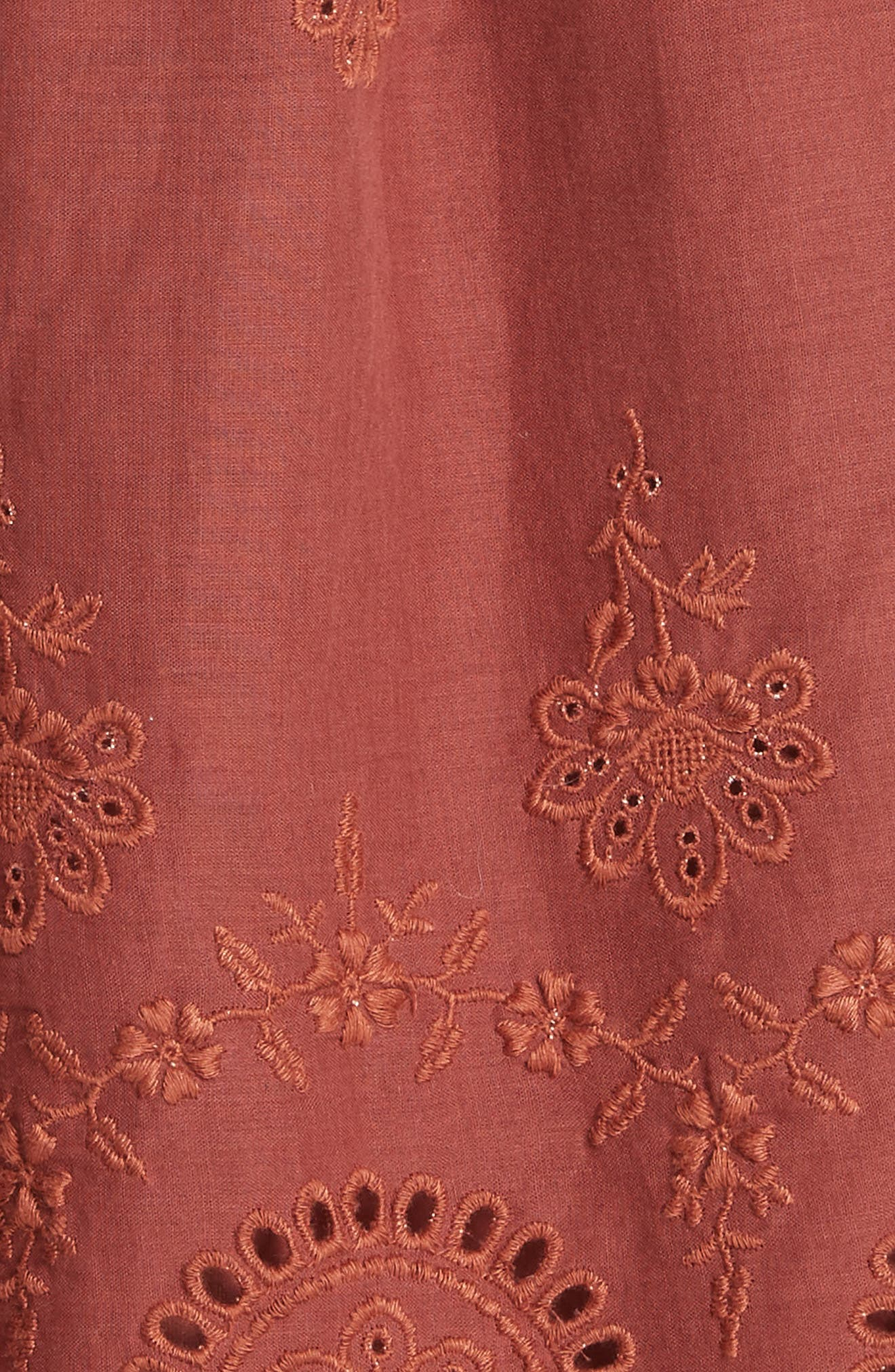 Sofie Lace & Pompom Dress,                             Alternate thumbnail 5, color,                             CLAY