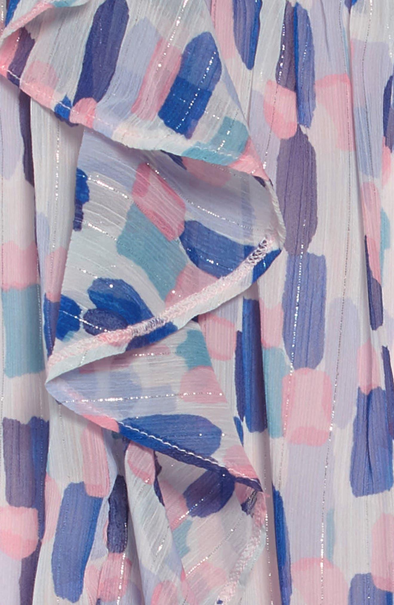 brush strokes ruffle dress,                             Alternate thumbnail 3, color,                             BRUSH STROKES