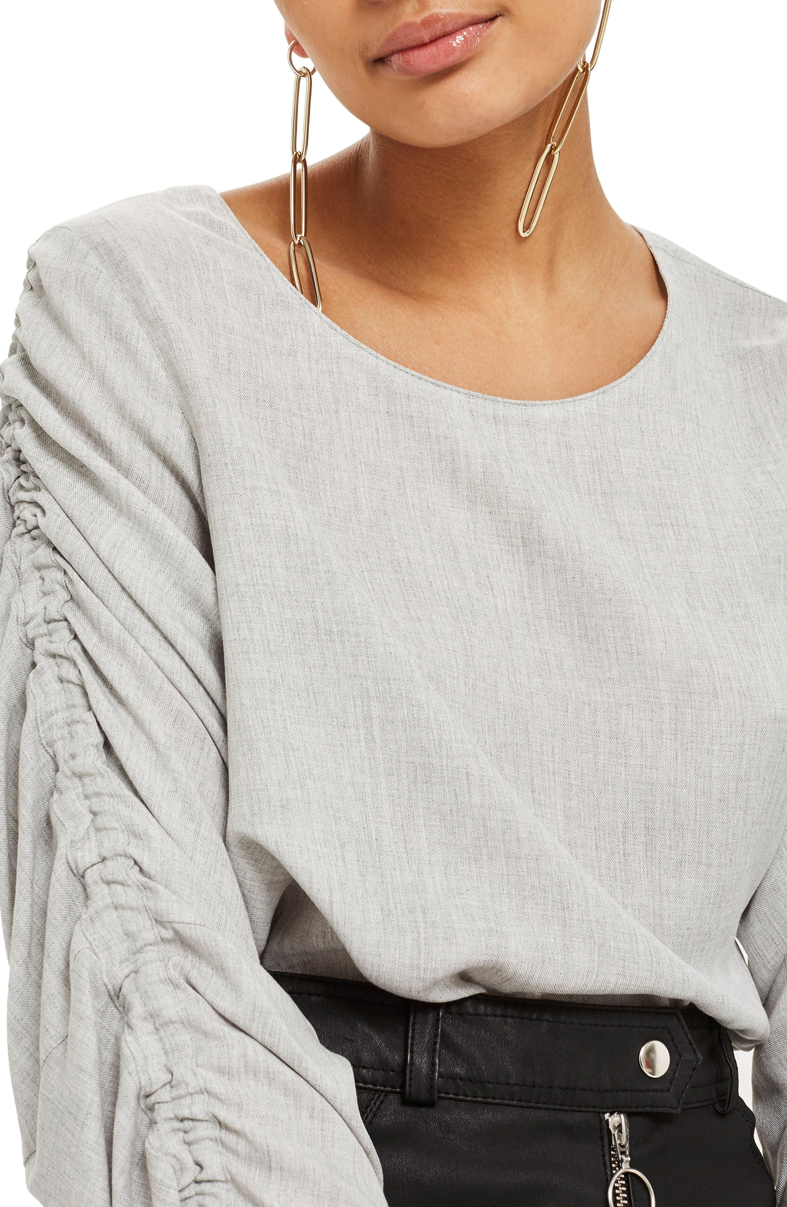 Ruched Sleeve Shirt,                             Main thumbnail 1, color,                             020