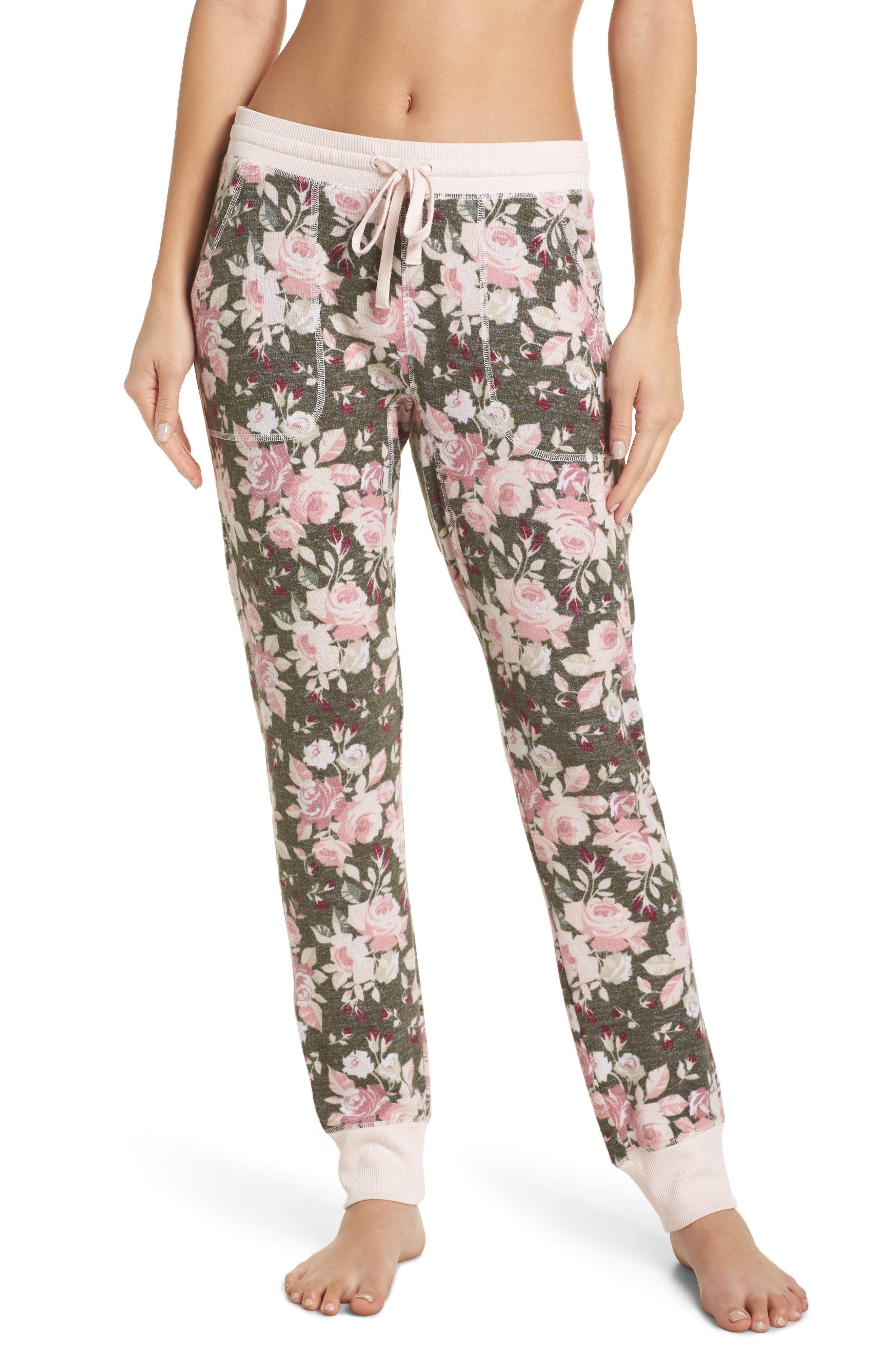 Splendid Crop Print Pajama Pants, Green