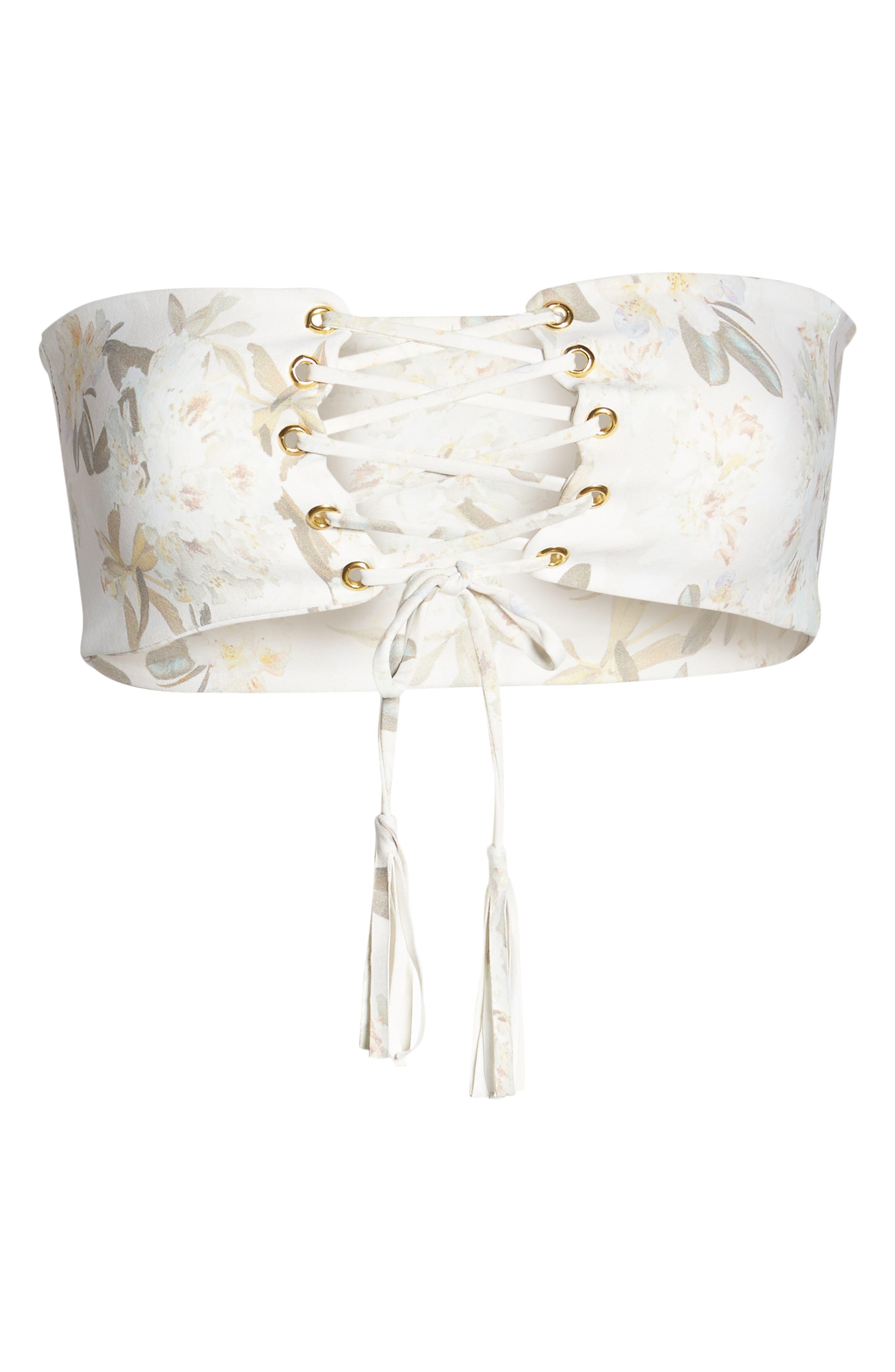 Floral Corset Bikini Top,                             Alternate thumbnail 6, color,                             ETE FLORAL WHITE