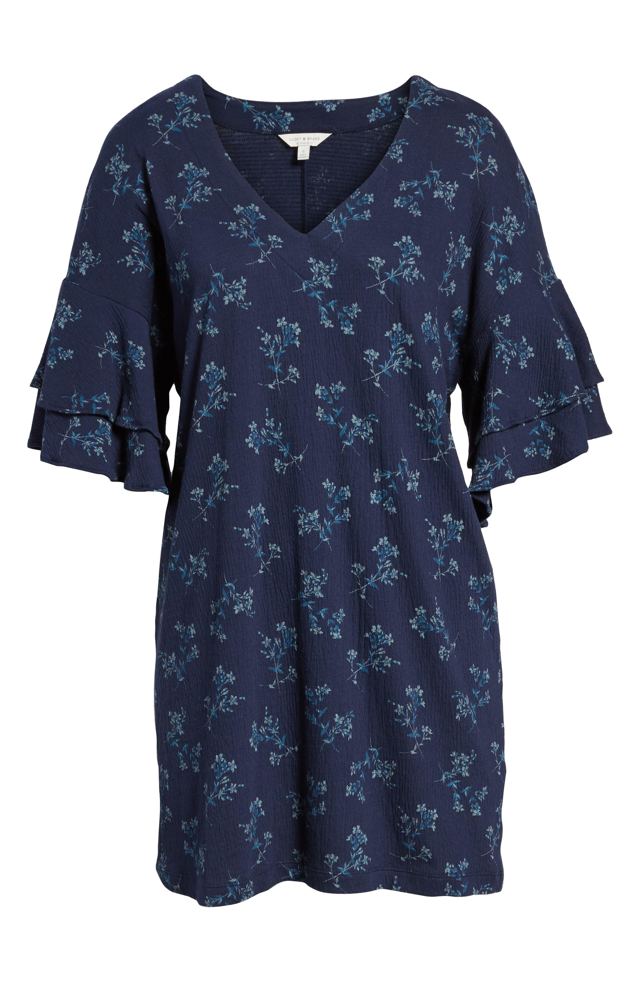 Tiered Sleeve Mini Dress,                             Alternate thumbnail 6, color,                             400