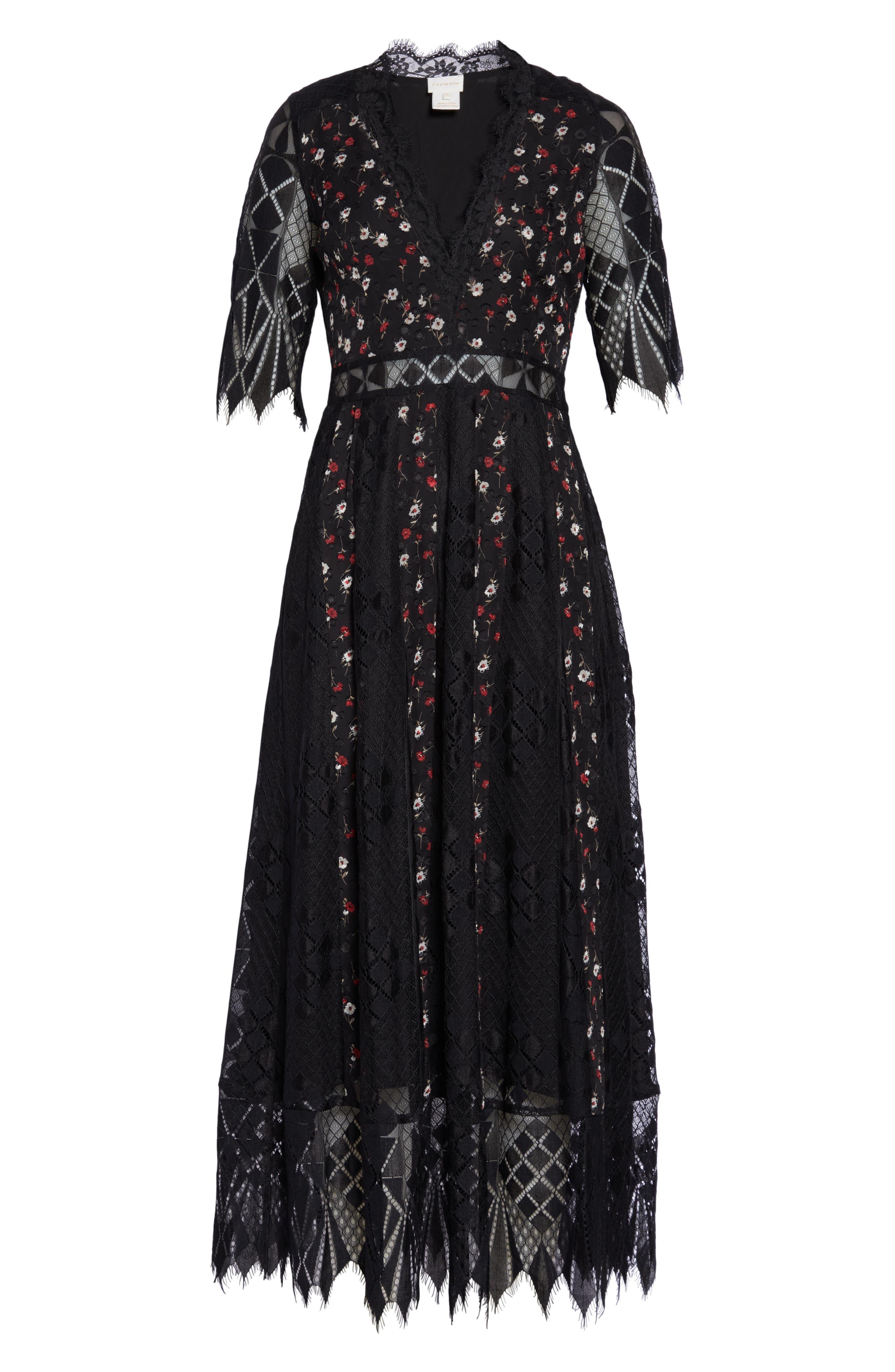 Josefine Lace & Clip Dot Tea Length Dress,                             Alternate thumbnail 7, color,                             BLACK MULTI