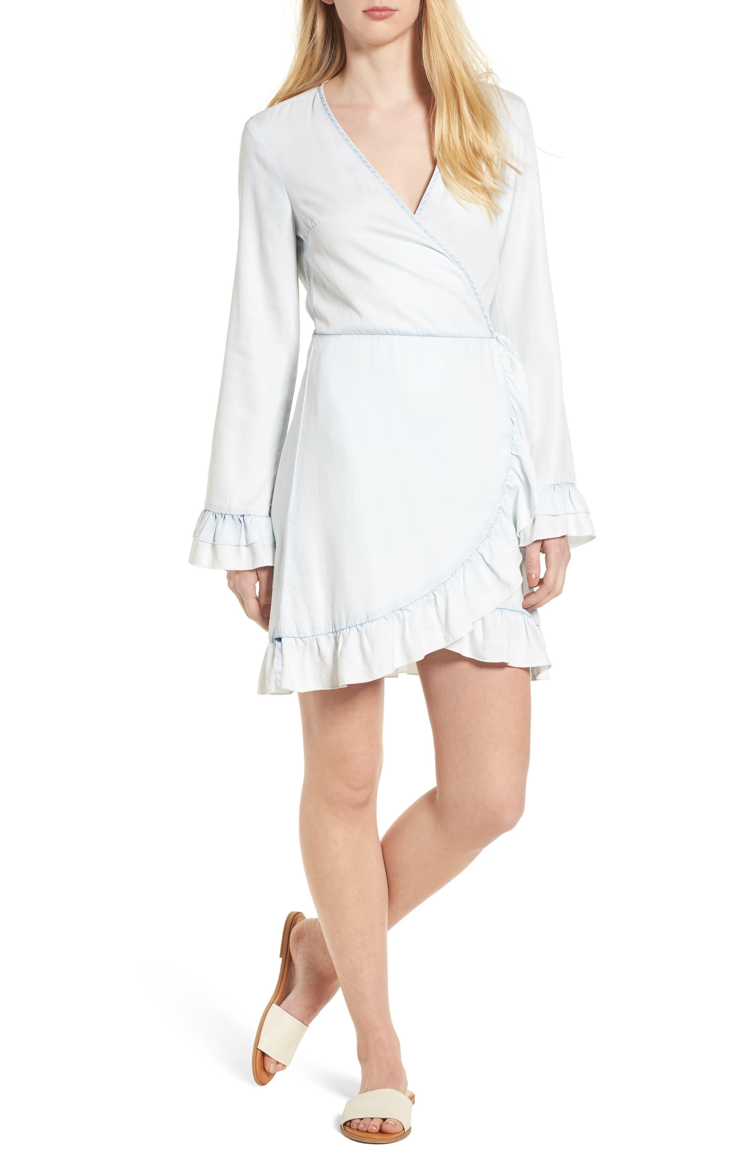 Ainsley Wrap Dress,                         Main,                         color, IRREGULAR BLEACH