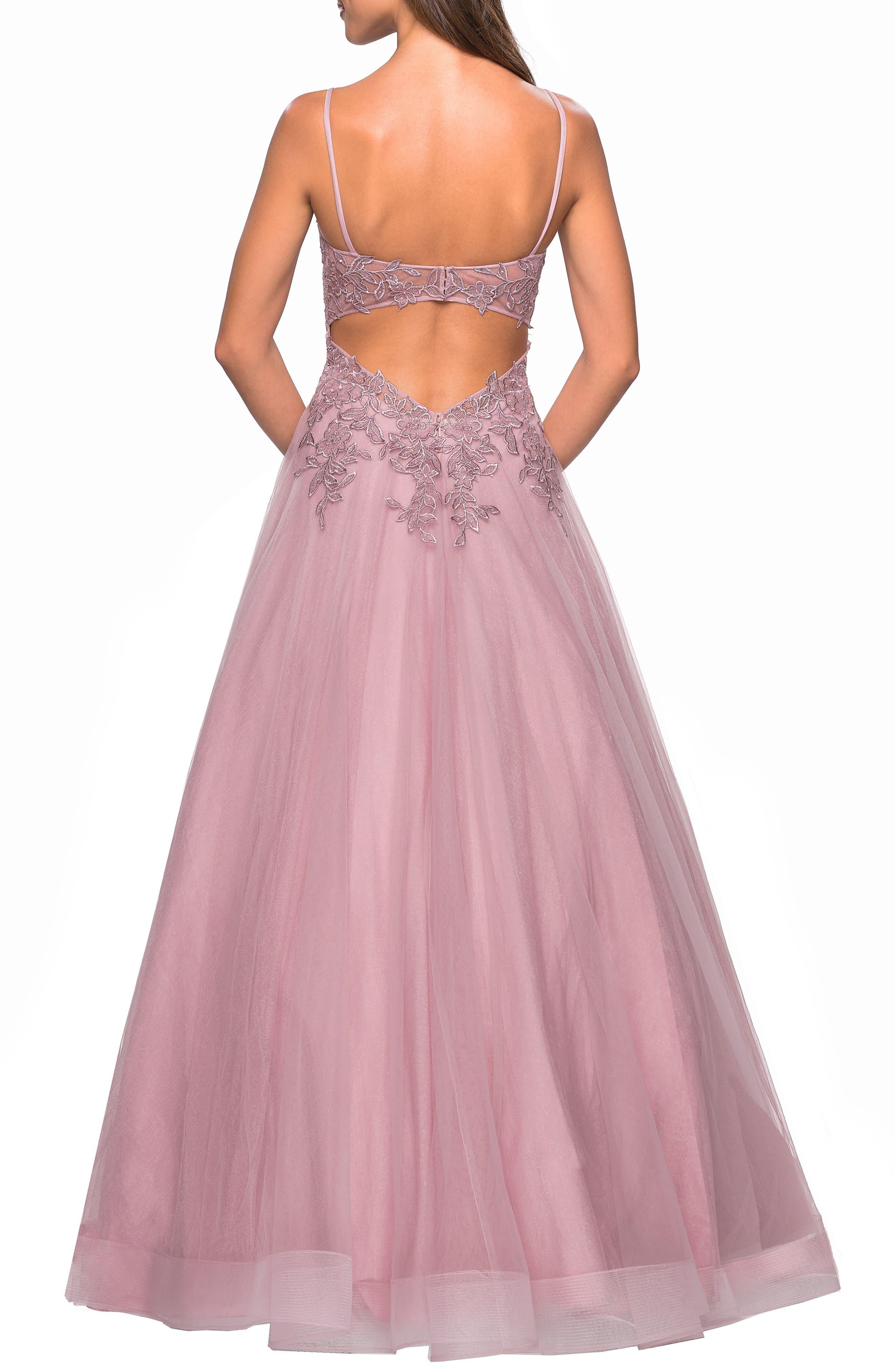 LA FEMME,                             Lace & Tulle Flared Skirt Evening Dress,                             Alternate thumbnail 2, color,                             MAUVE