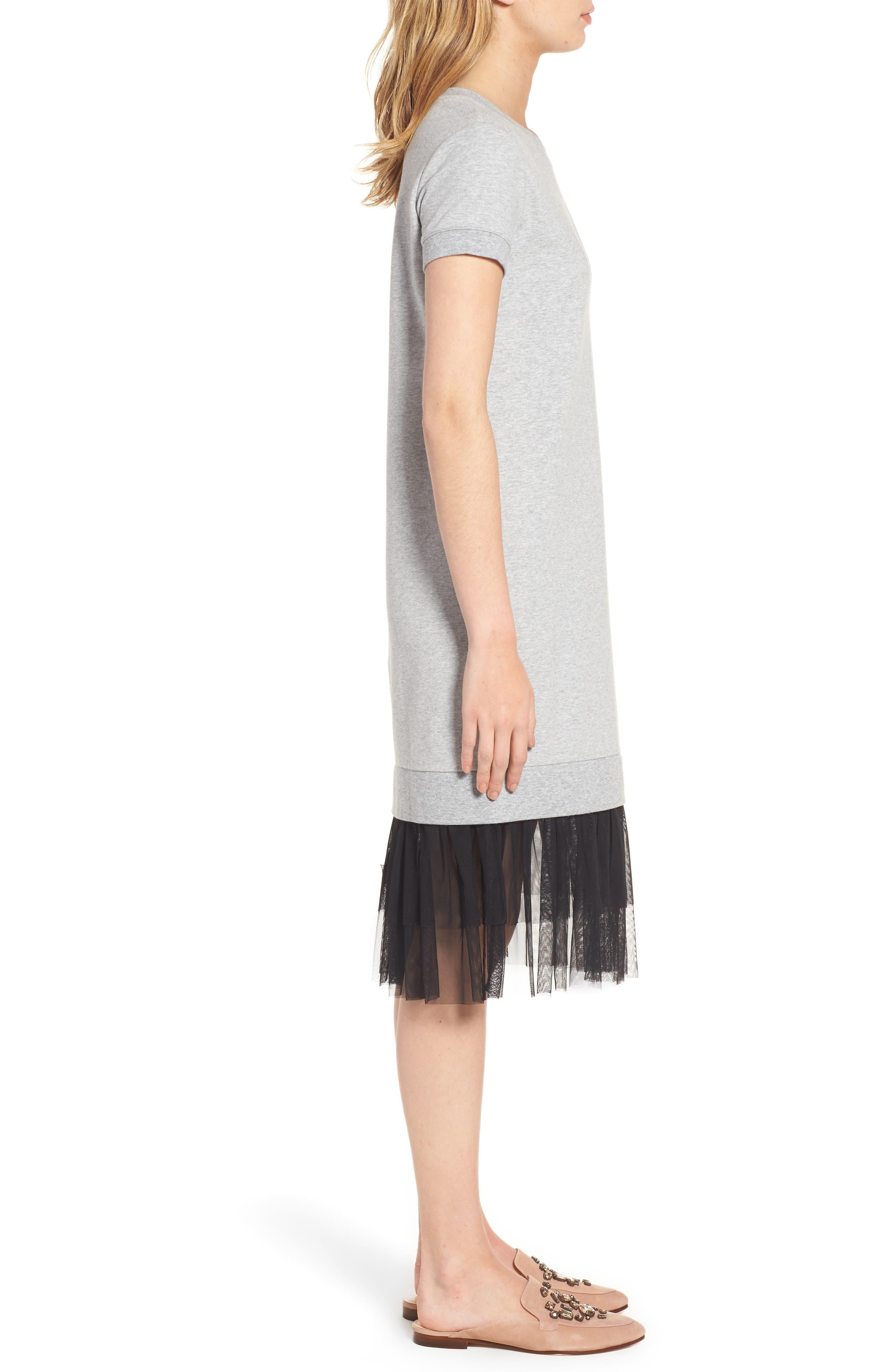 Ruffle Hem Midi Dress,                             Alternate thumbnail 3, color,                             030