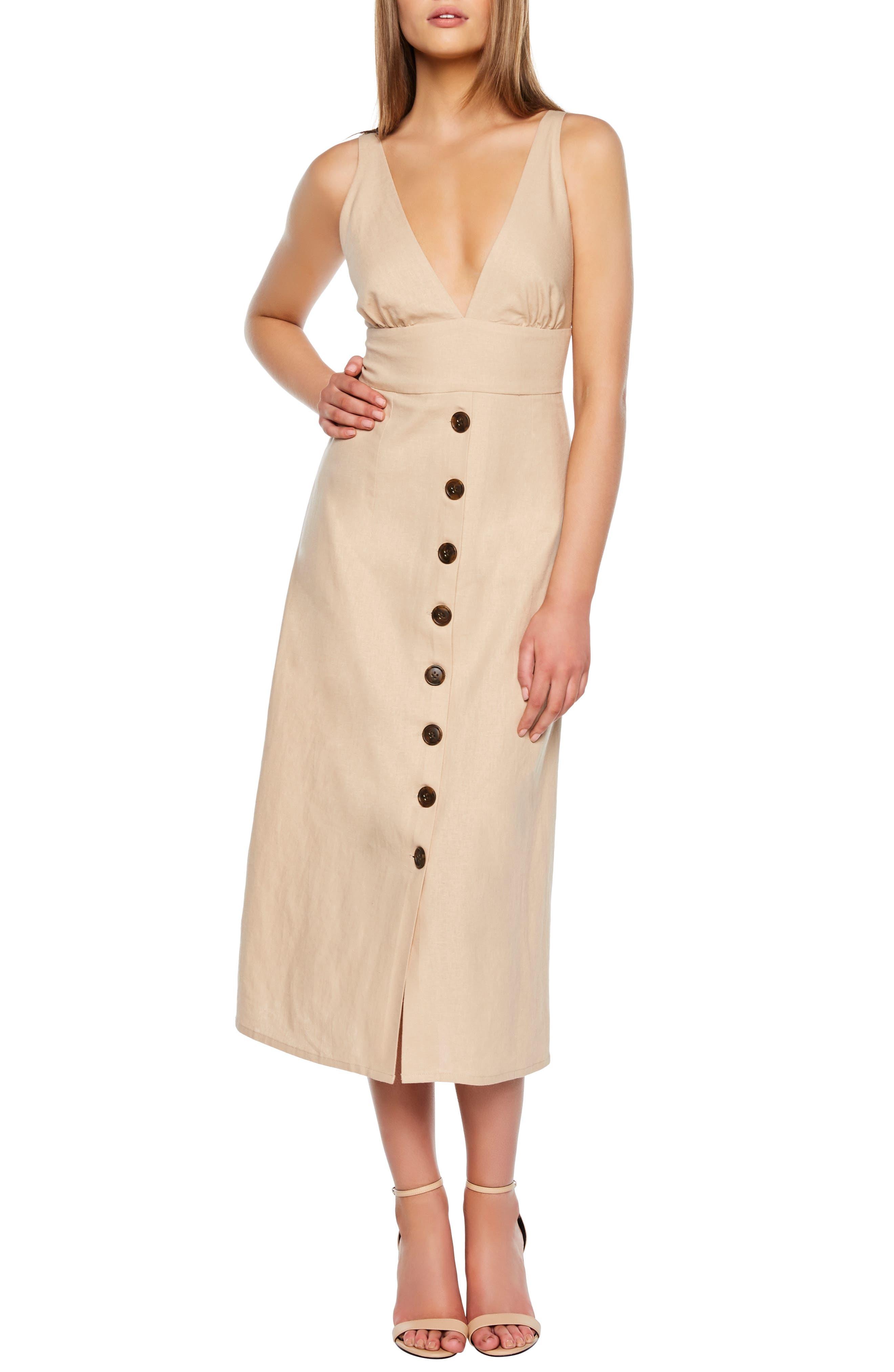Bardot Shelby Button Midi Dress, Beige