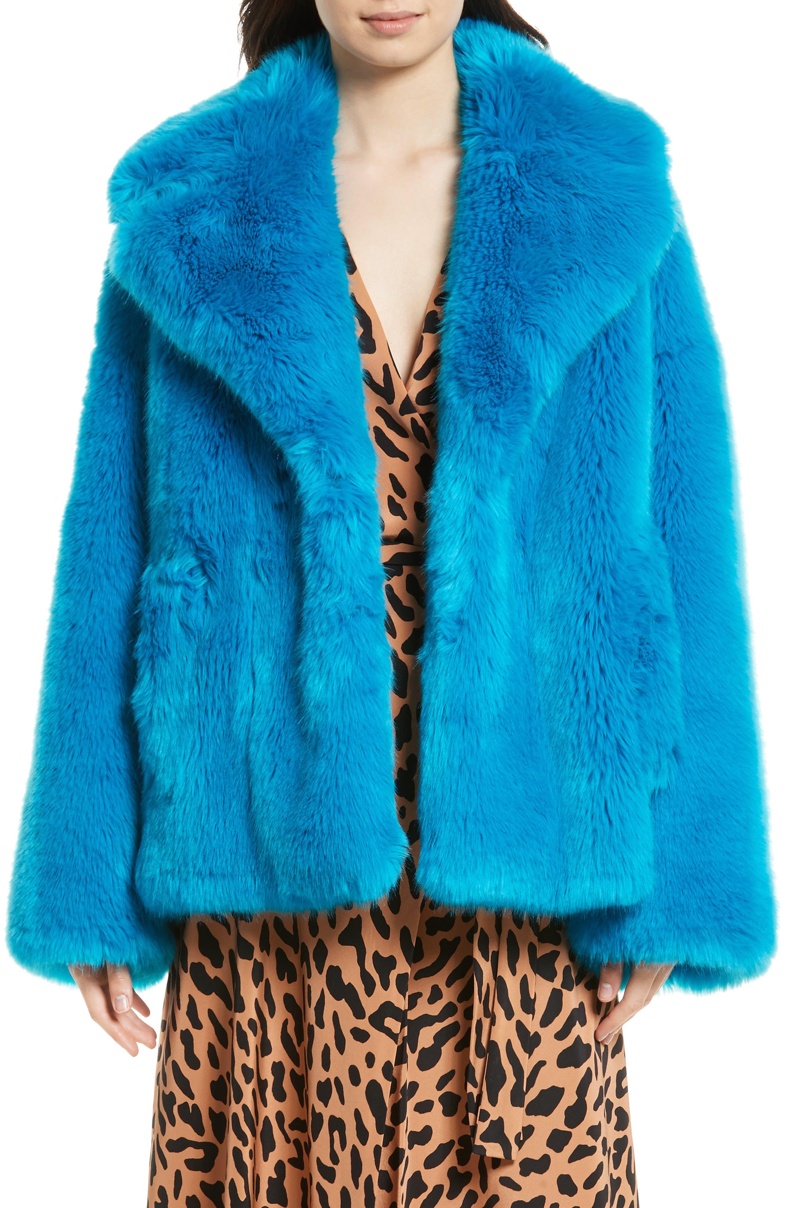 DIANE VON FURSTENBERG Faux Fur Jacket, Main, color, 403