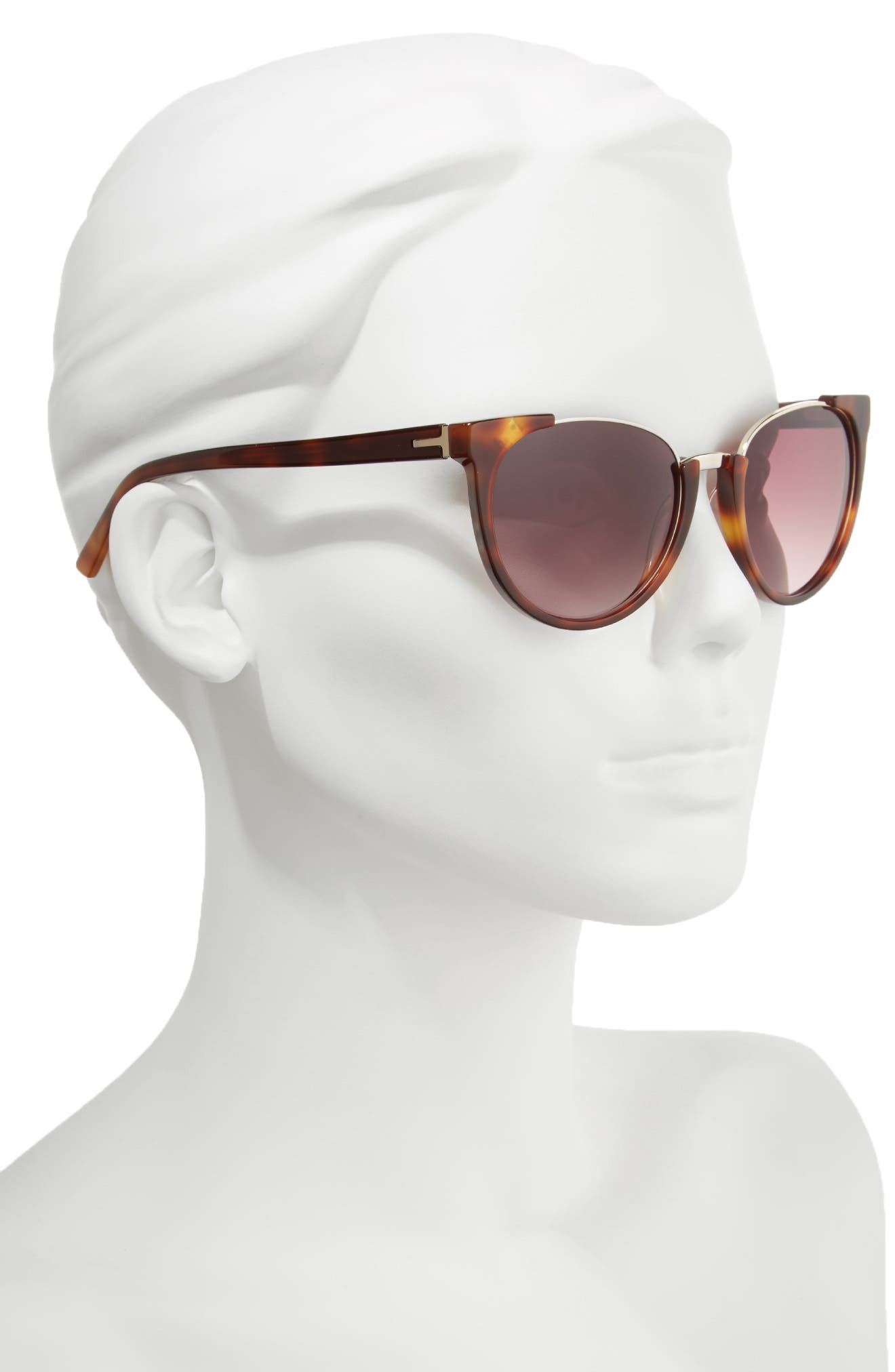 53mm Modified Oval Sunglasses,                             Alternate thumbnail 2, color,                             TORTOISE