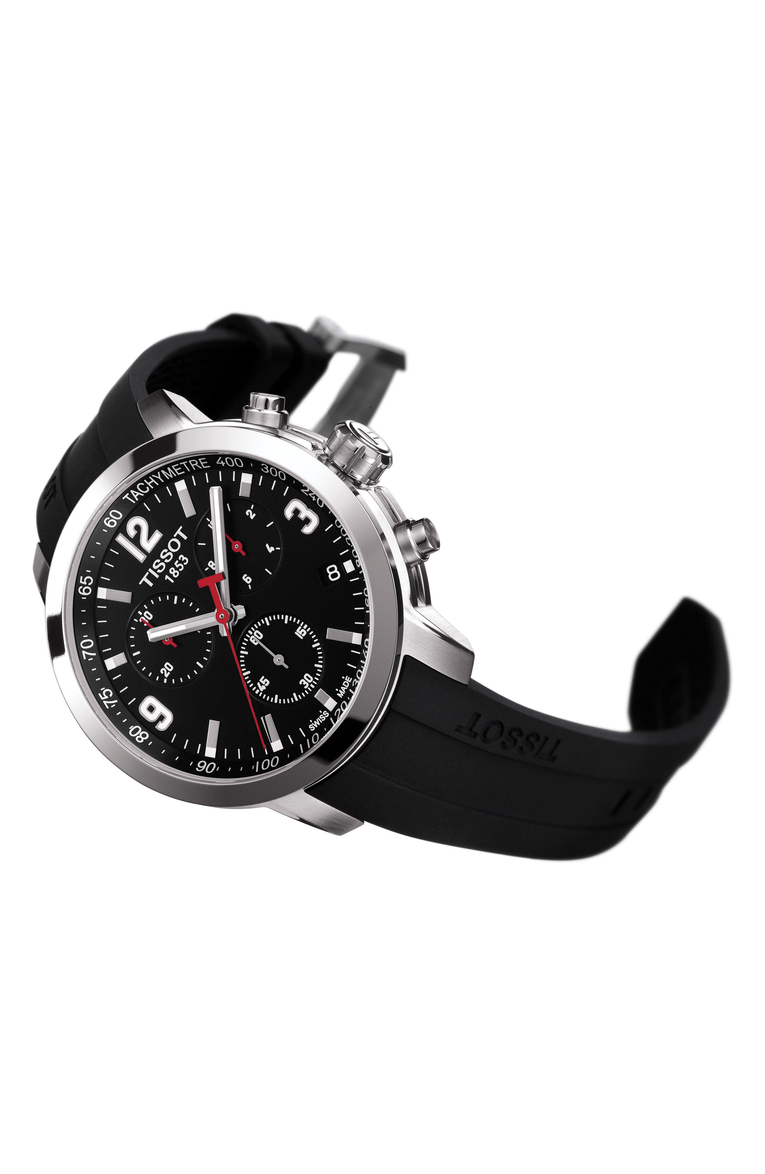 PRC200 Chronograph Silicone Strap Watch, 41mm,                             Alternate thumbnail 3, color,                             BLACK/ SILVER