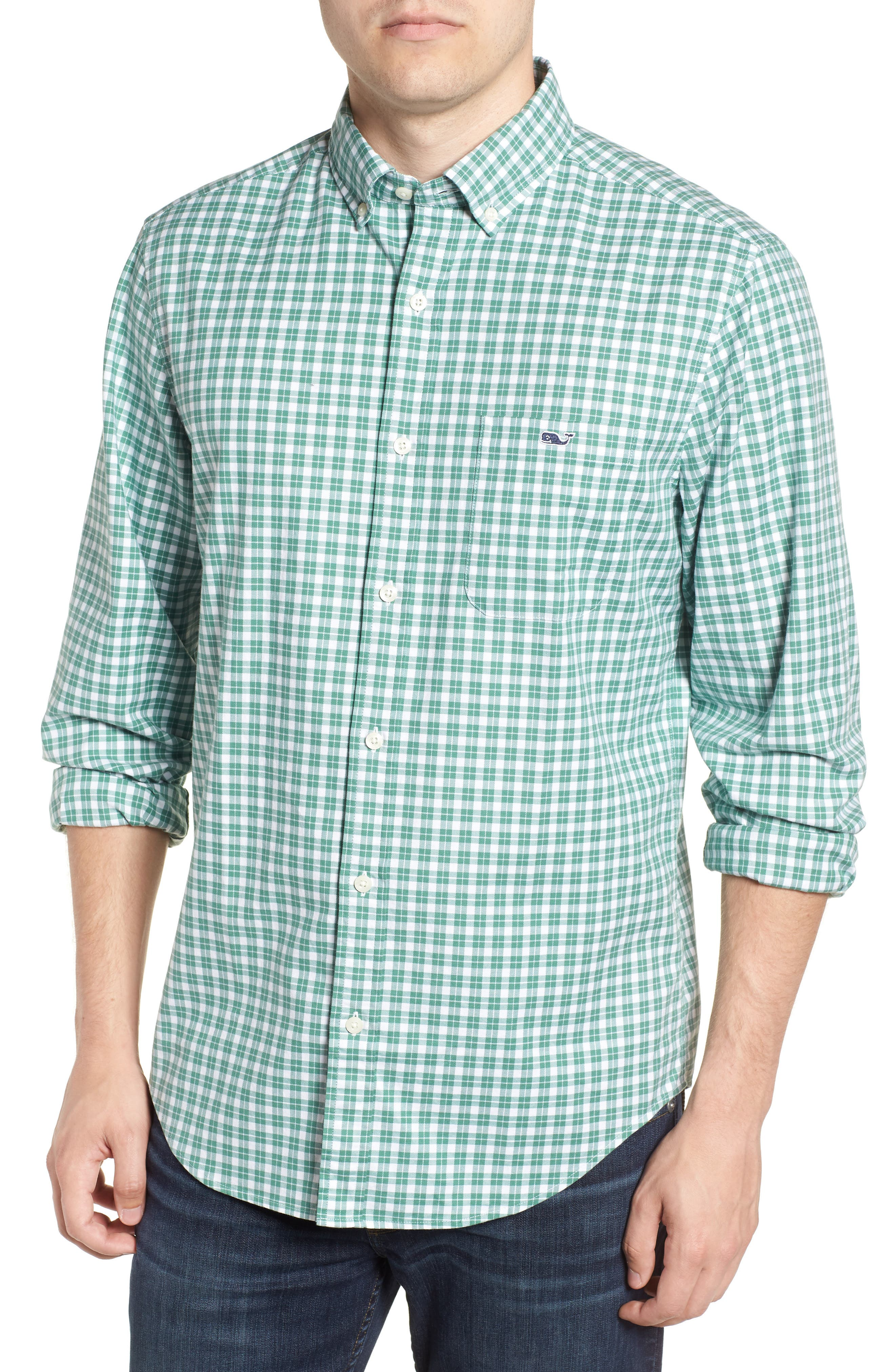 Eagle Hill Classic Fit Check Sport Shirt,                         Main,                         color, STARBOARD GREEN