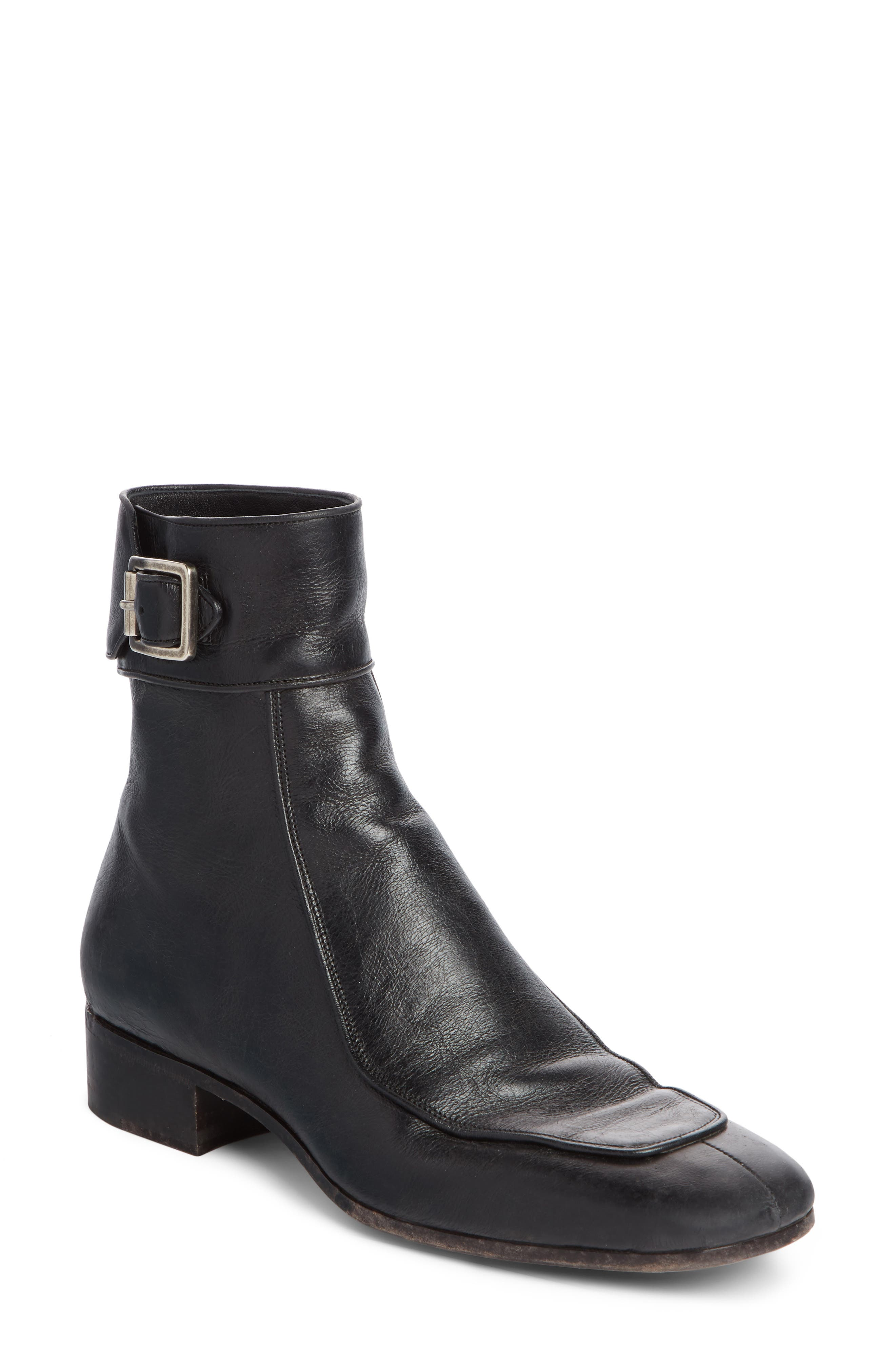 Miles Distressed Leather Booties in Black Leather