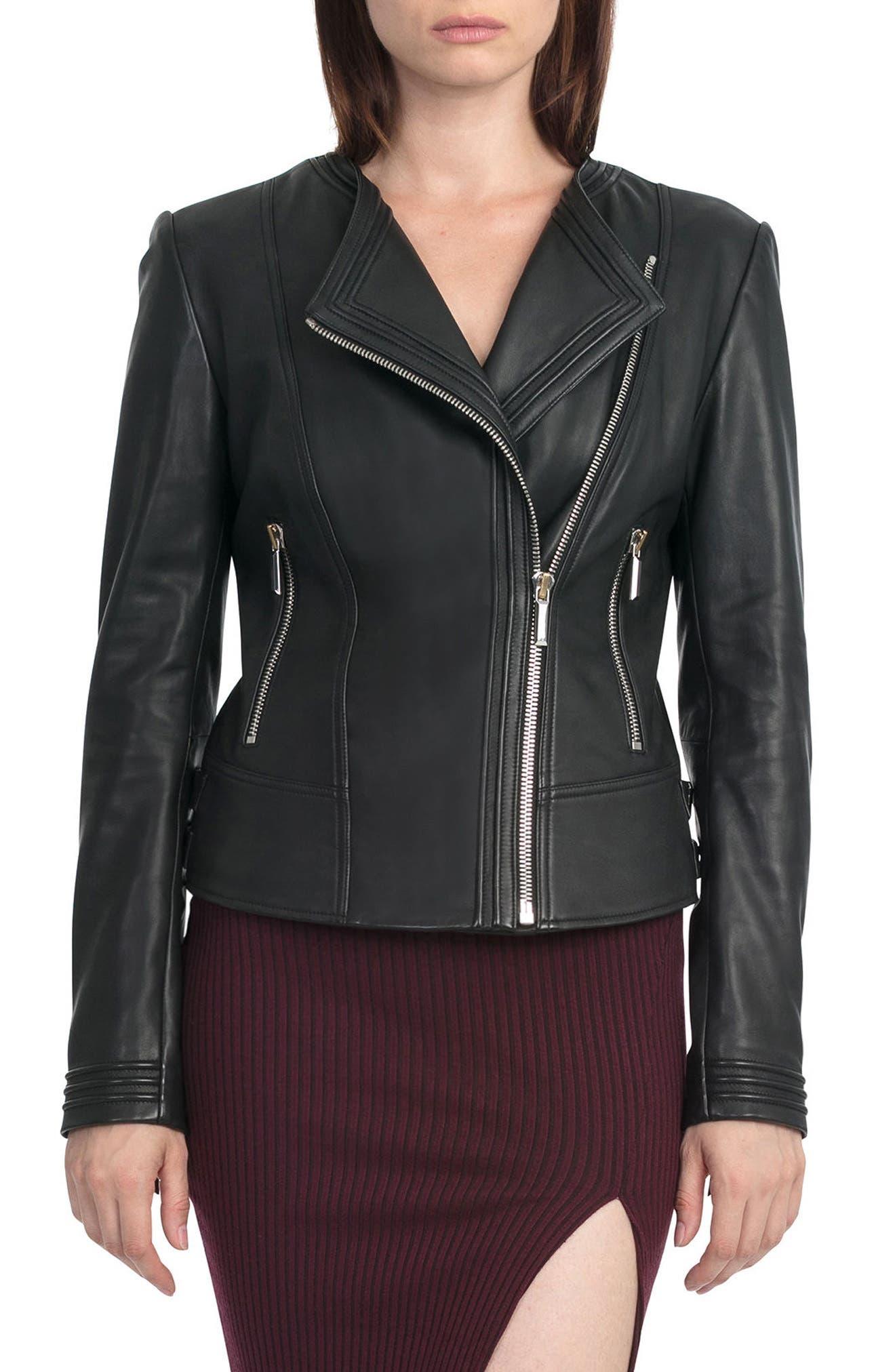 Bagatelle Pintucked Moto Jacket,                         Main,                         color, 001