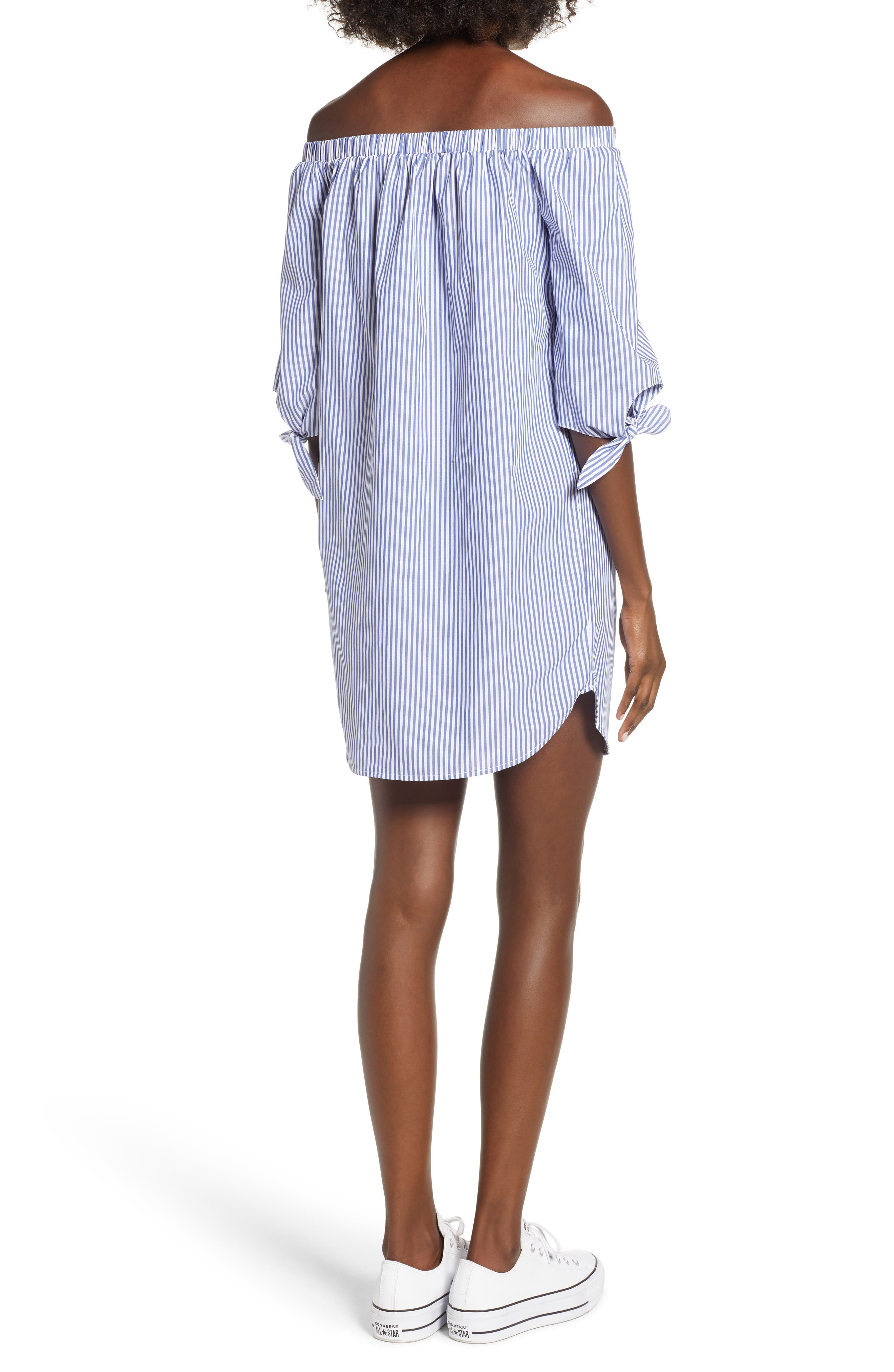 Stripe Off-the-shoulder Poplin Shirtdress,                             Alternate thumbnail 2, color,                             400
