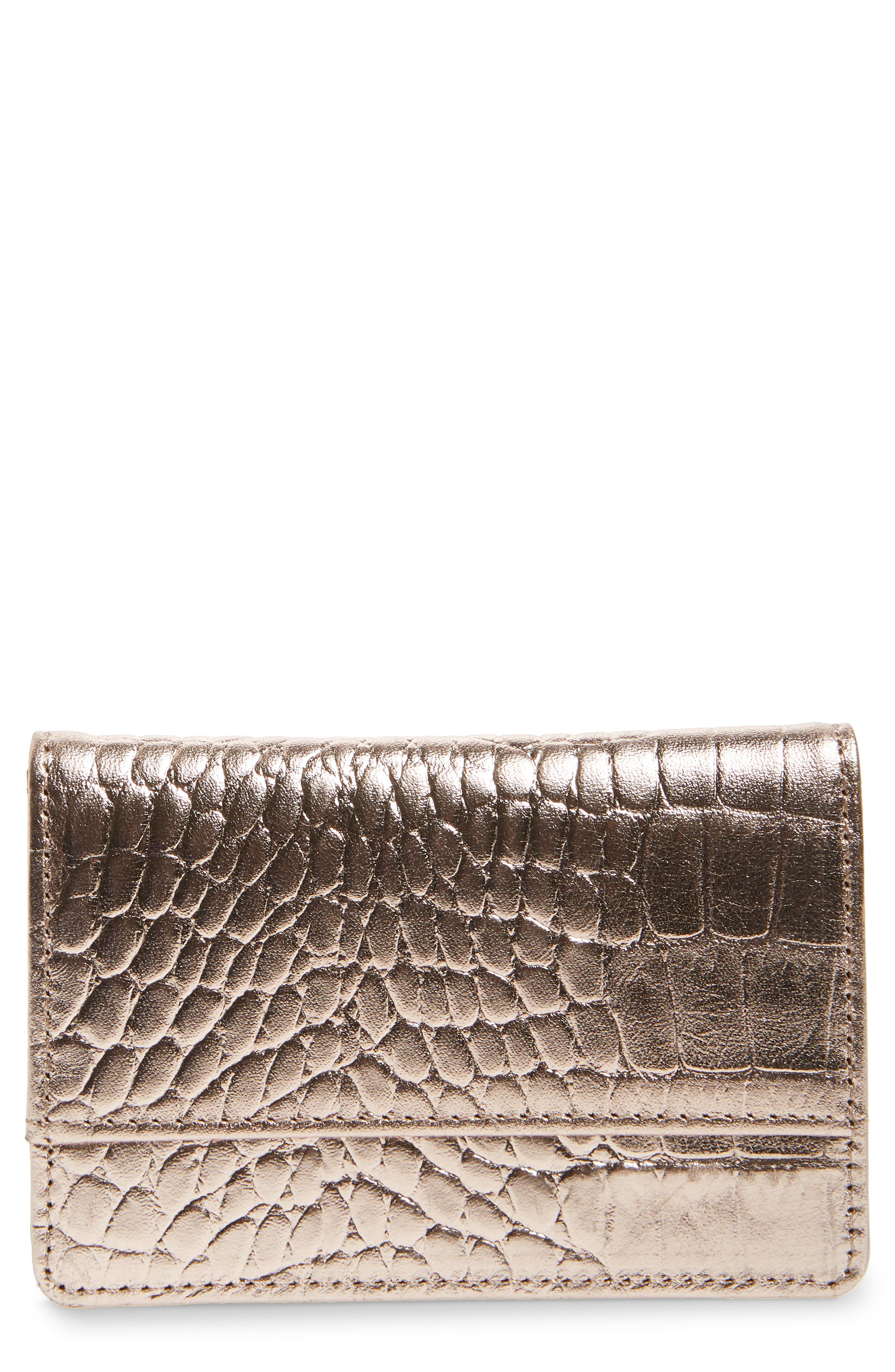 Ruby Croc Embossed Leather Cardholder,                             Main thumbnail 1, color,                             PINK DUST