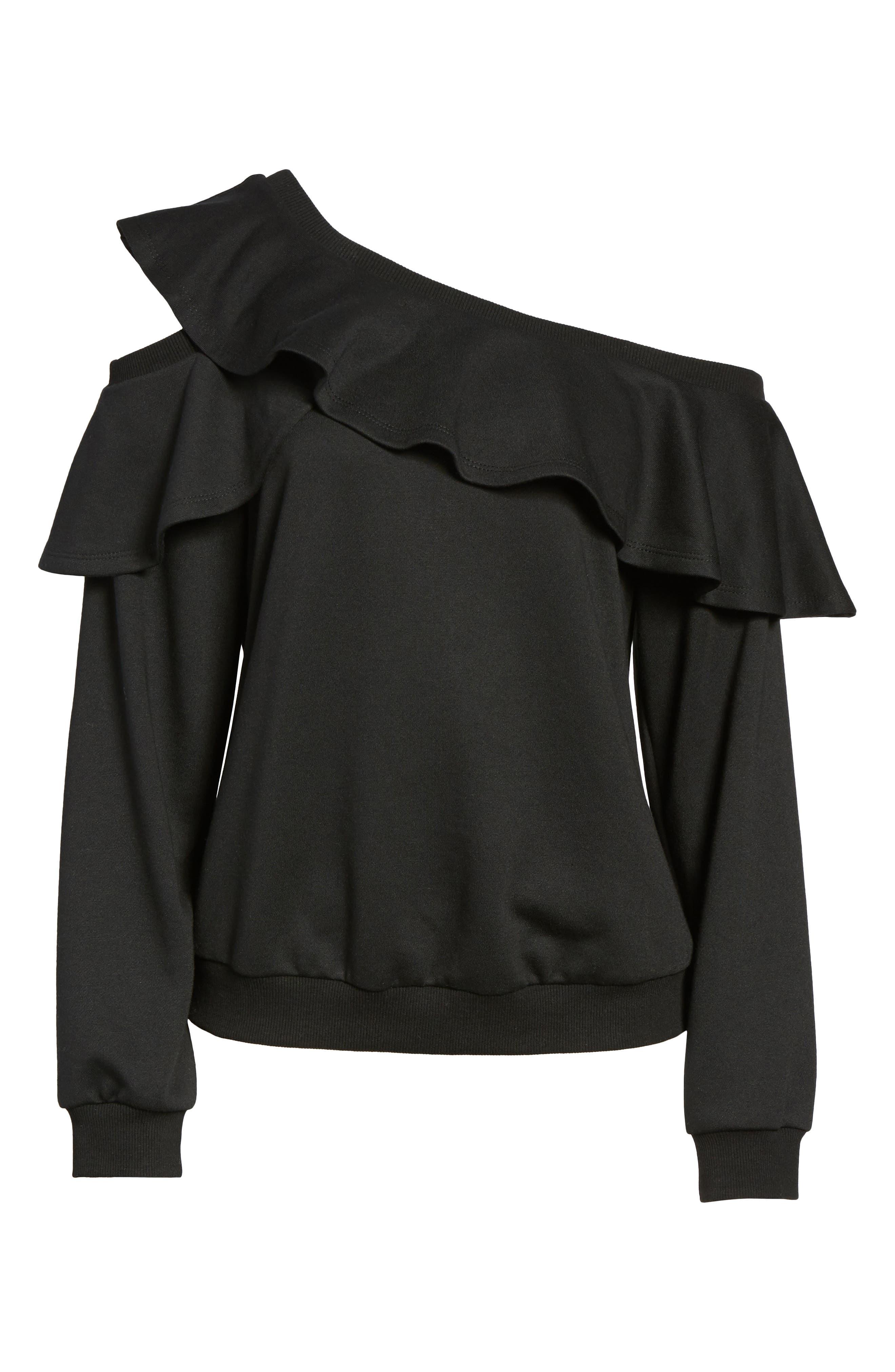 One-Shoulder Ruffle Sweatshirt,                             Alternate thumbnail 6, color,                             001