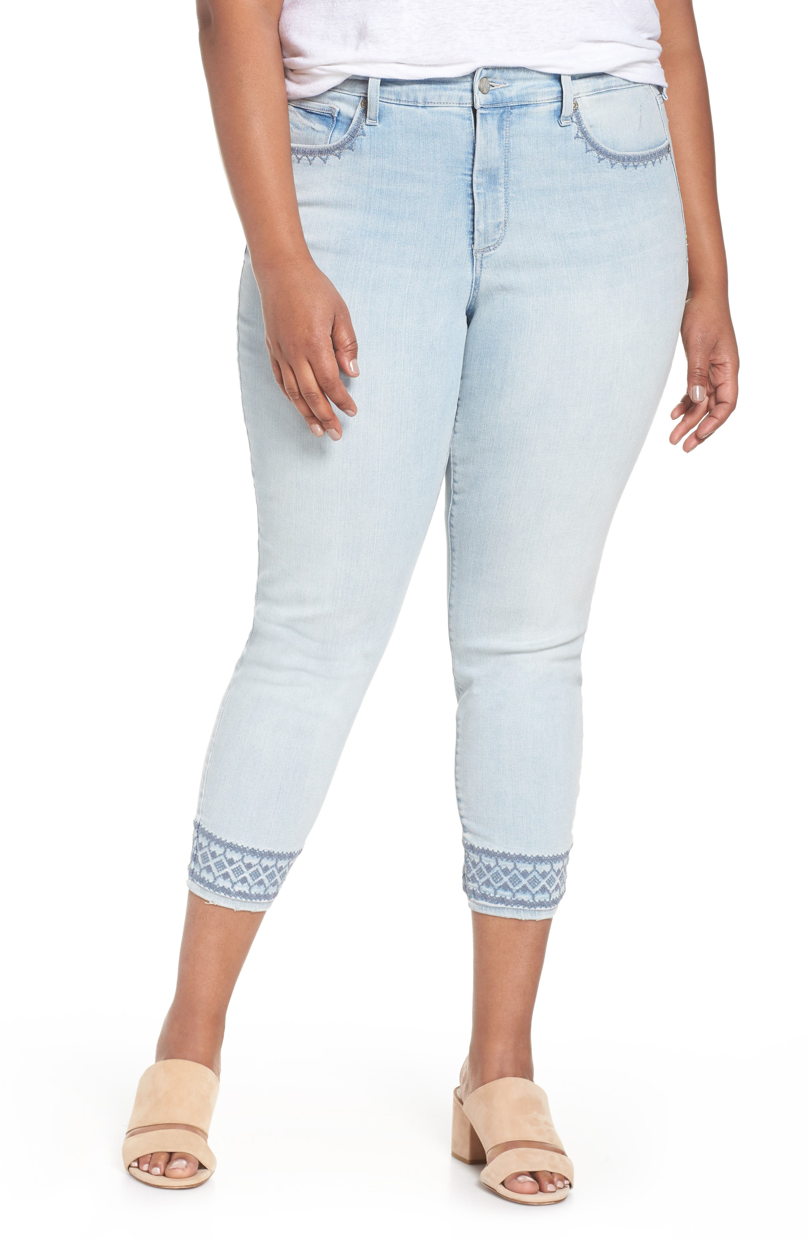 Ami Embroidered Ankle Skinny Jeans,                             Main thumbnail 1, color,
