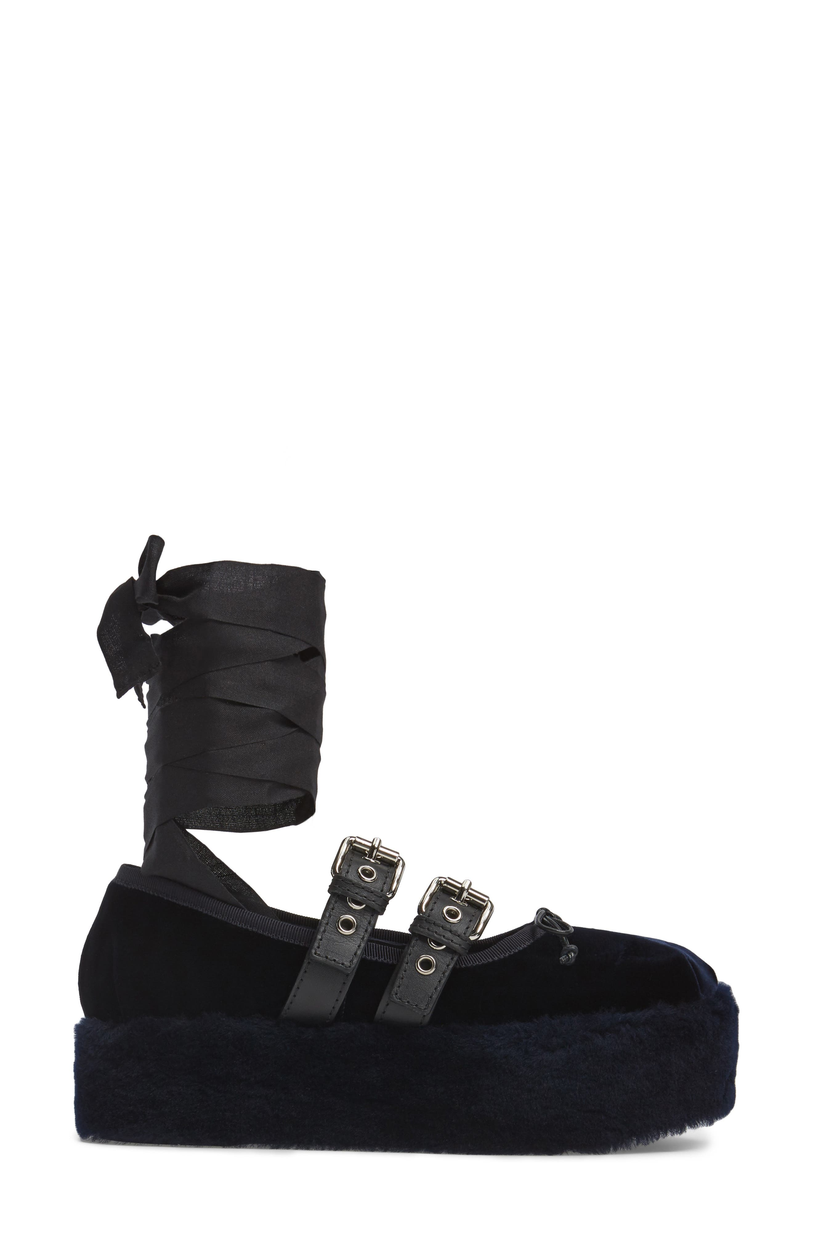 Genuine Shearling Buckle Strap Platform Flat,                             Alternate thumbnail 3, color,                             400