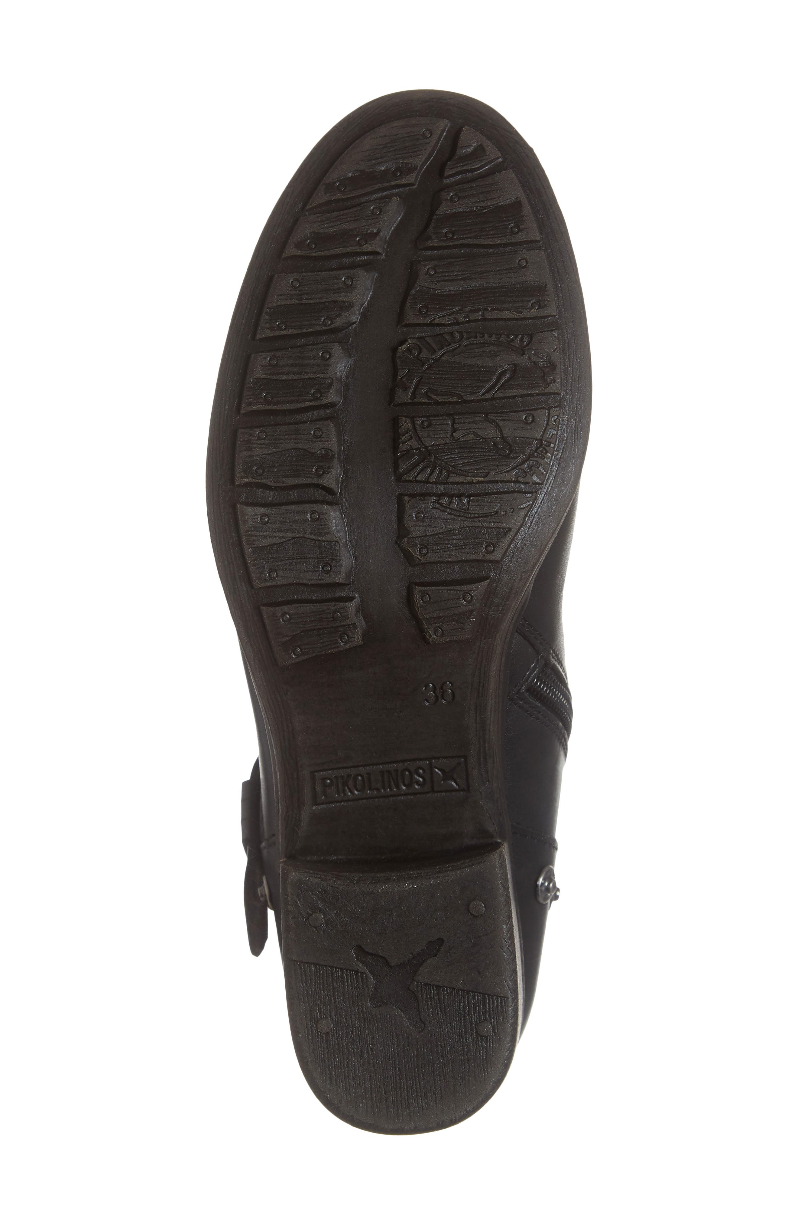 Lyon Embroidered Engineer Bootie,                             Alternate thumbnail 6, color,                             BLACK LEATHER