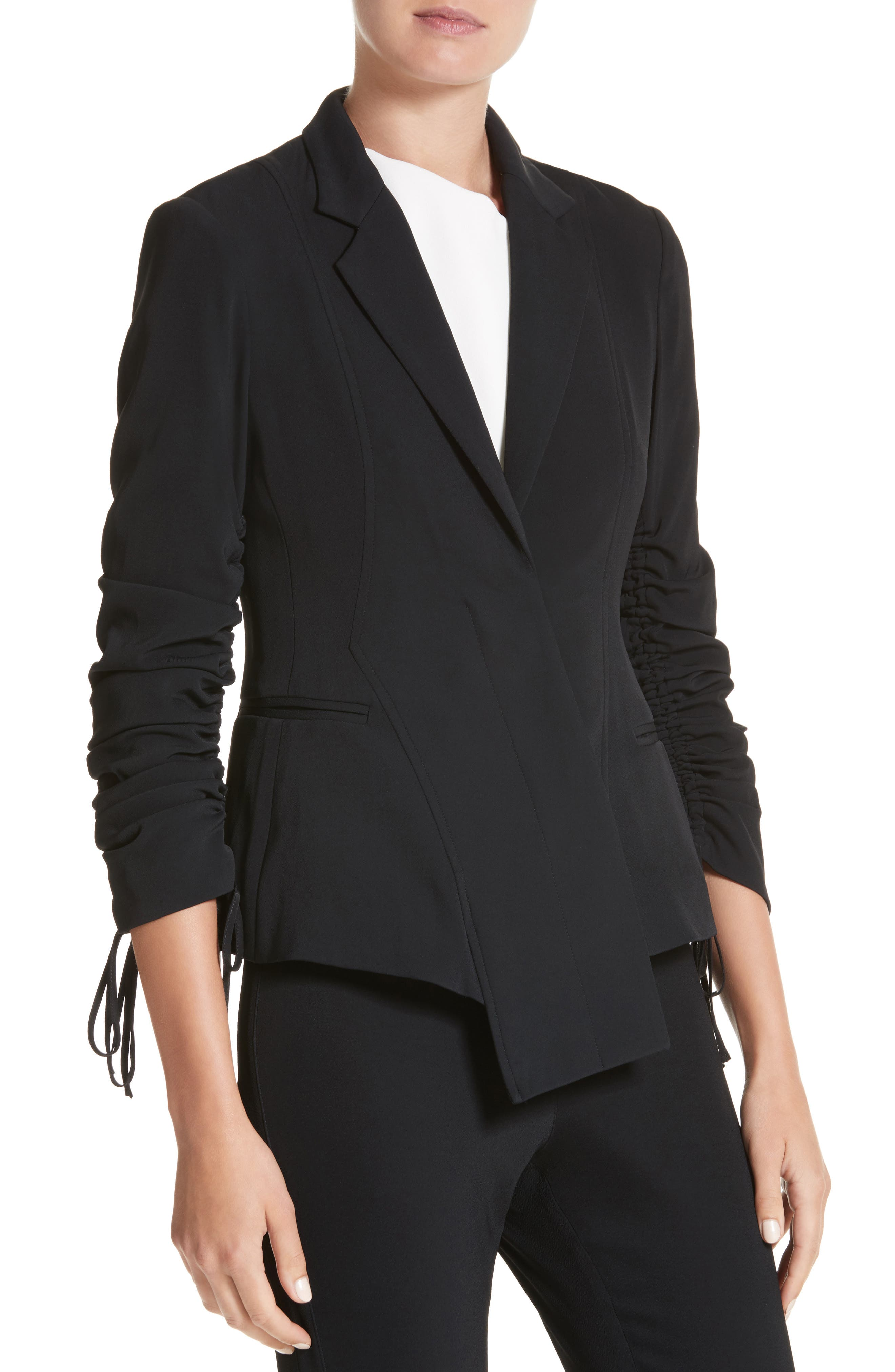 Twill Ruched Sleeve Blazer,                             Alternate thumbnail 4, color,                             001
