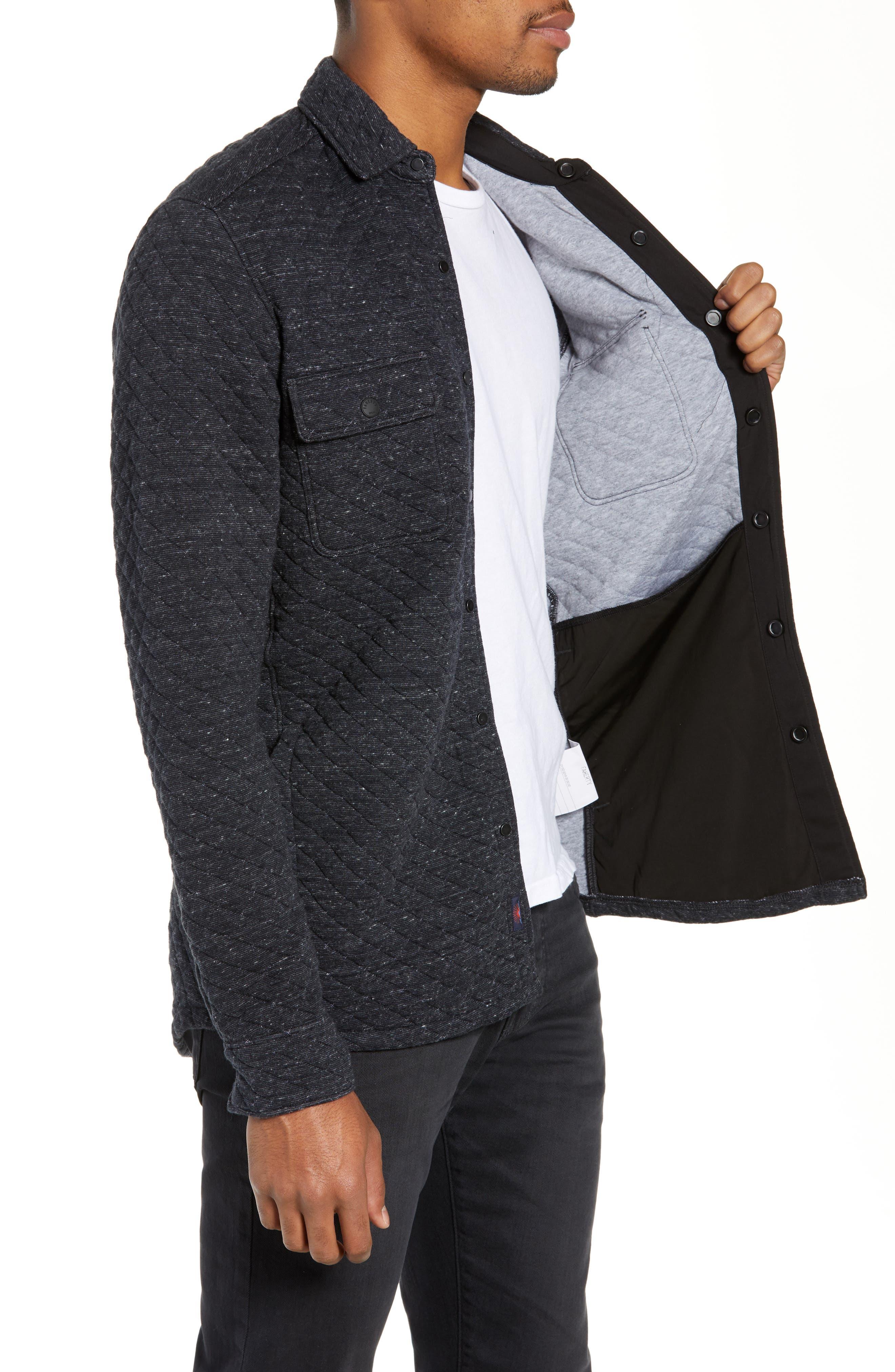 FAHERTY,                             Belmar Regular Fit Quilted Shirt Jacket,                             Alternate thumbnail 3, color,                             BLACK HEATHER