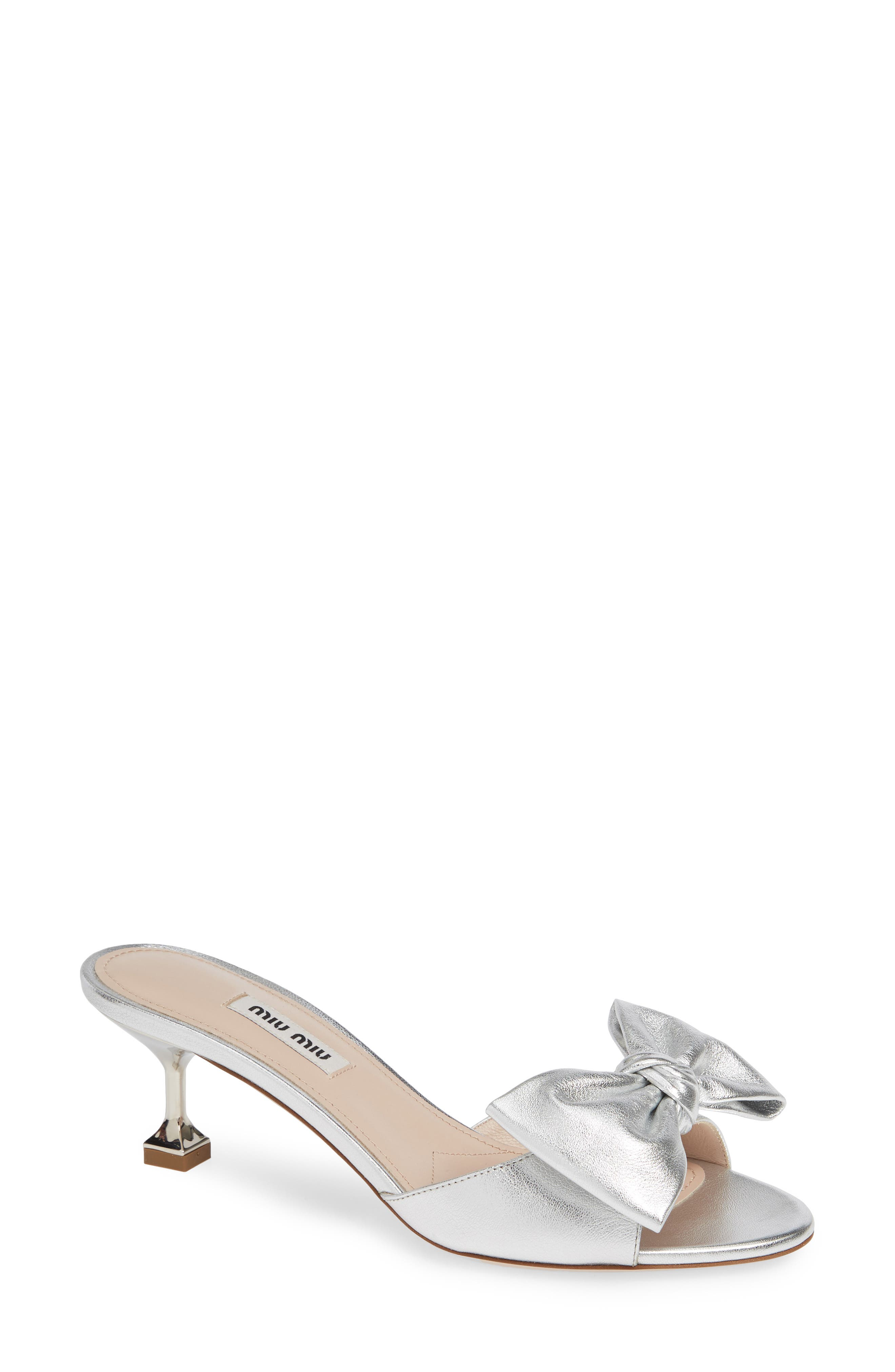 Bow Slide Sandal, Main, color, SILVER
